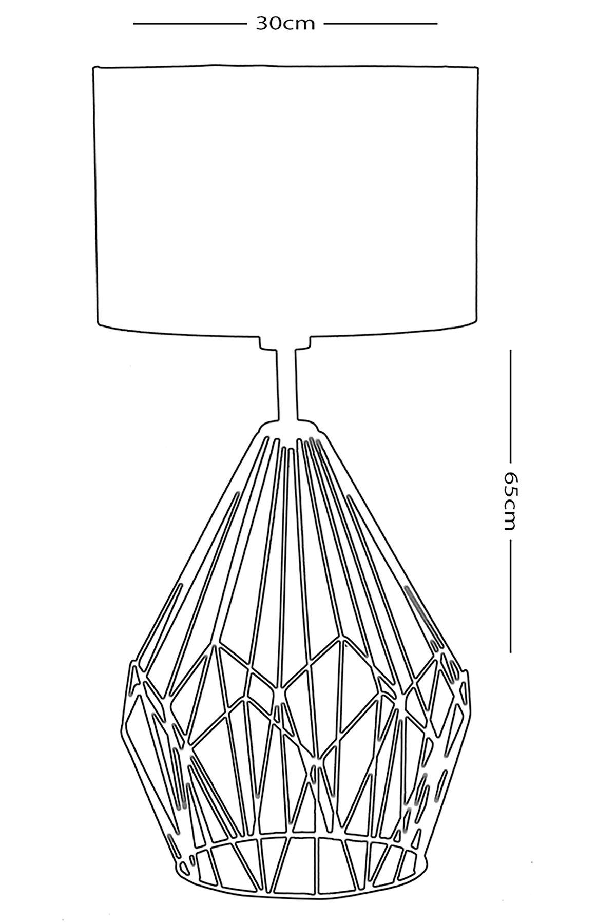 Enzo Bakır Metal Abajur Tasarım Lüx Masa Lambası