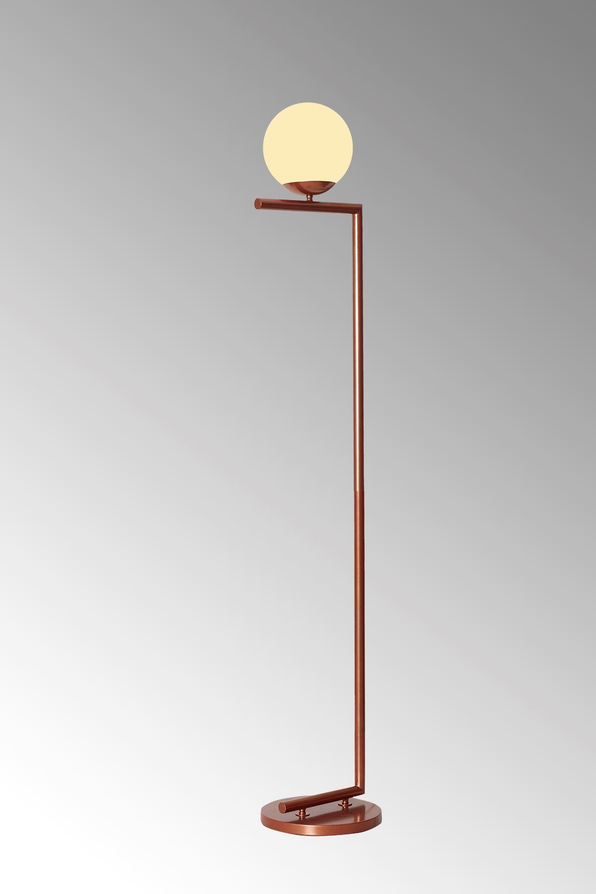 Casa Bakır Metal Gövde Beyaz Camlı Tasarım Lüx Yerden Aydınlatma Lambader