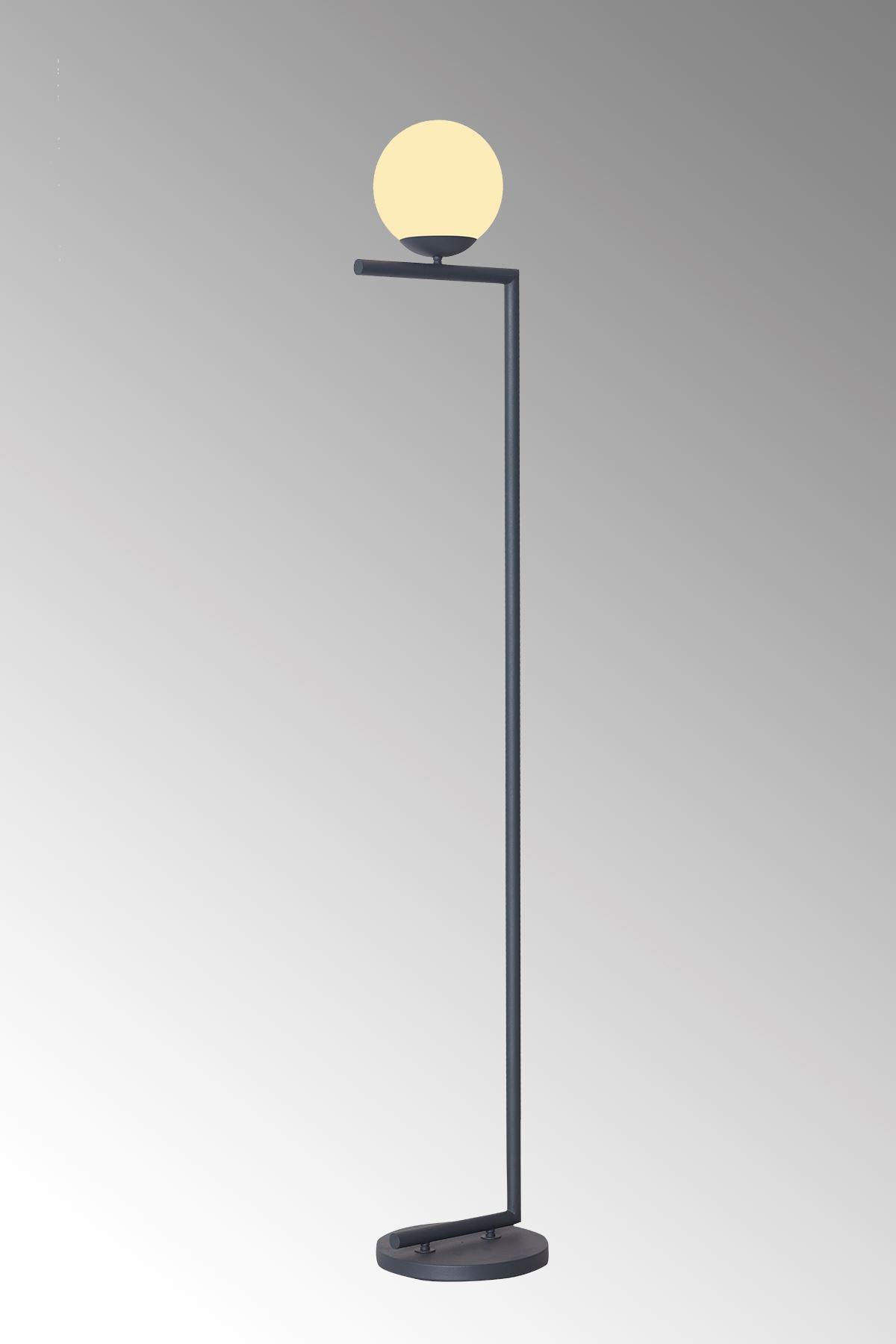 Casa Antrasit Metal Gövde Beyaz Camlı Tasarım Lüx Yerden Aydınlatma Lambader