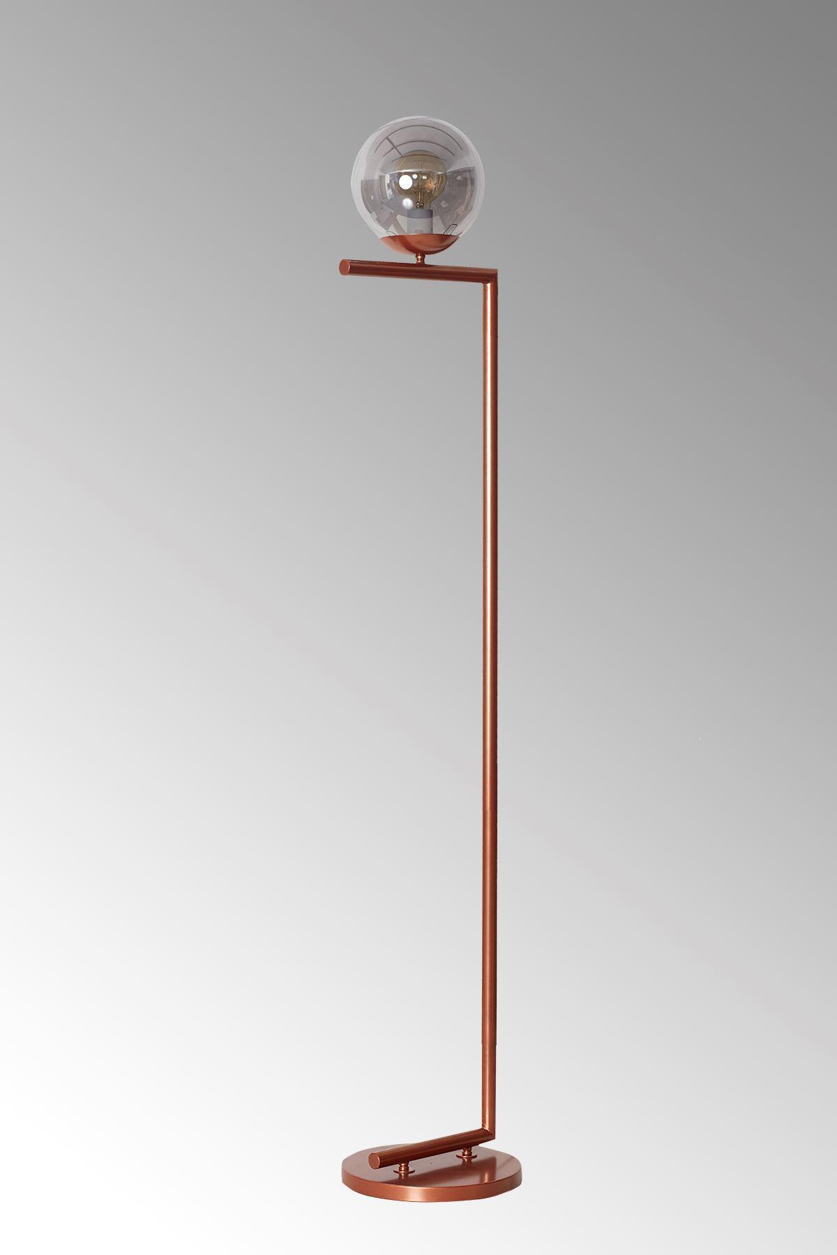 Casa Bakır Metal Gövde Füme Camlı Tasarım Lüx Yerden Aydınlatma Lambader