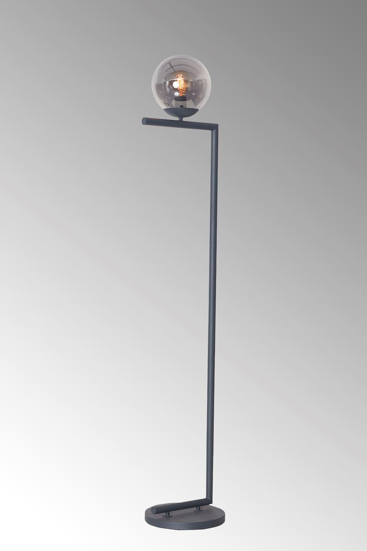 Casa Antrasit Metal Gövde Füme Camlı Tasarım Lüx Yerden Aydınlatma Lambader