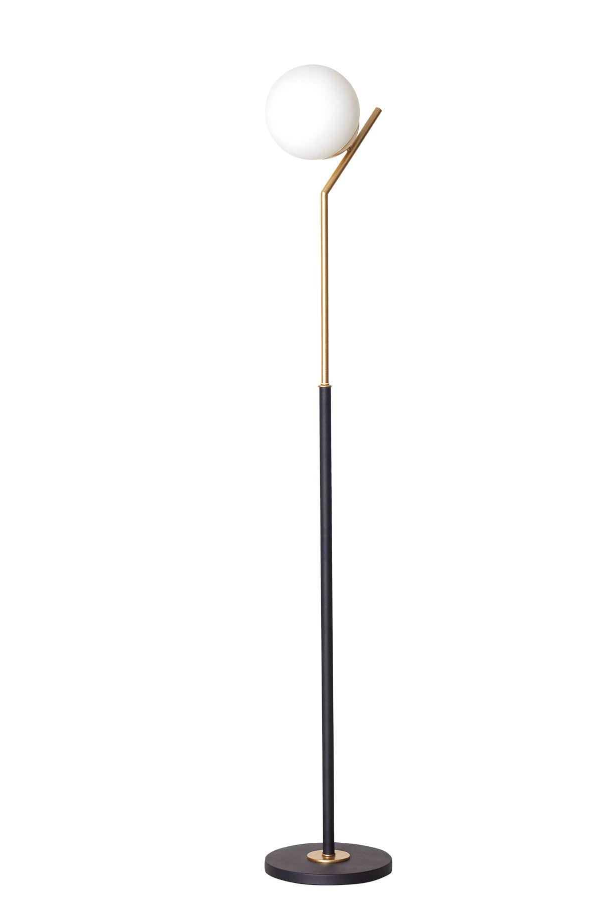 Elit Sarı-Siyah Metal Gövde Beyaz Camlı Tasarım Lüx Yerden Aydınlatma Lambader