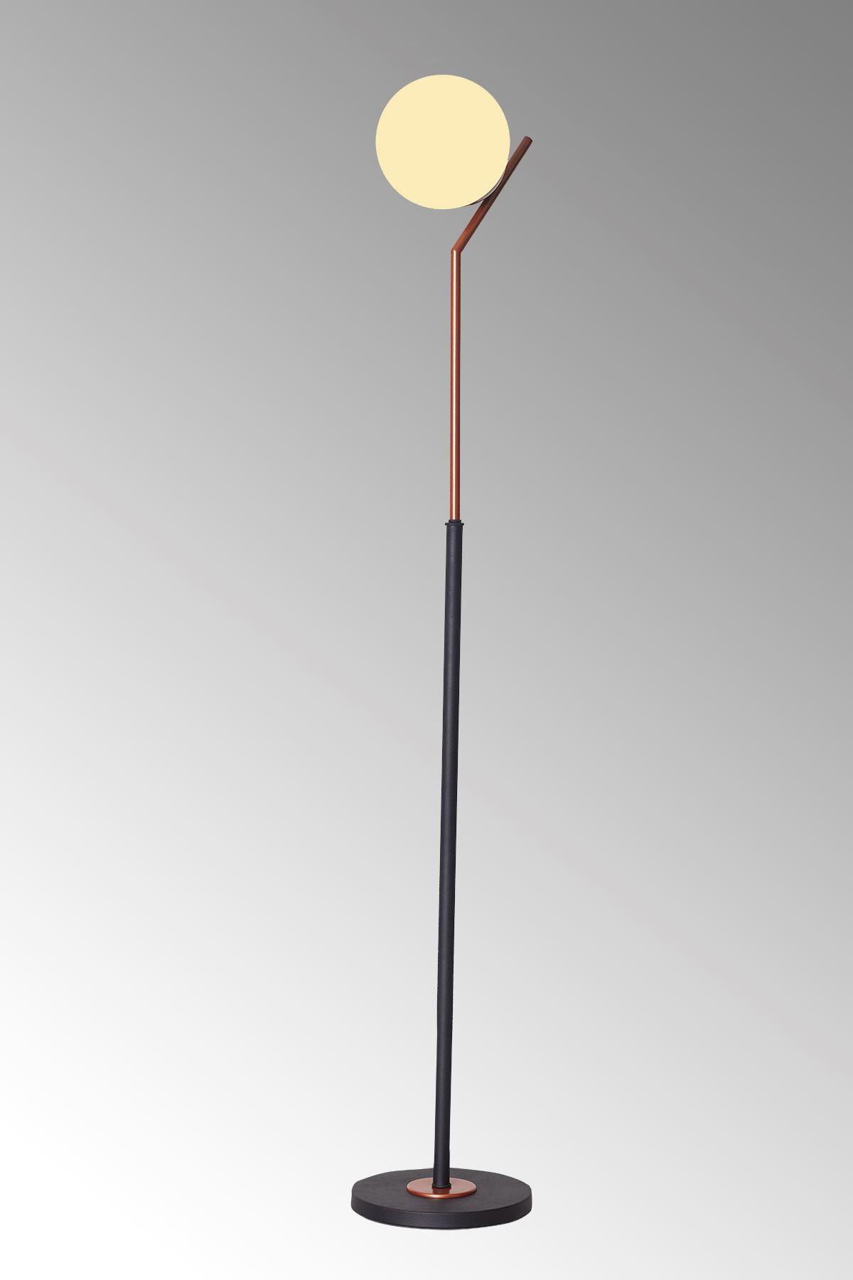Elit Bakır-Siyah Metal Gövde Beyaz Camlı Tasarım Lüx Yerden Aydınlatma Lambader