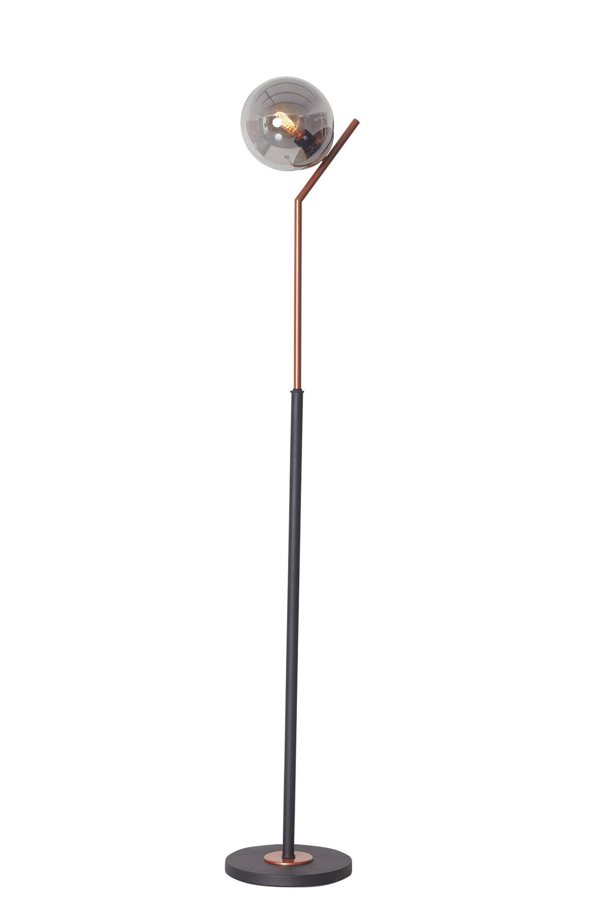 Elit Bakır-Siyah Metal Gövde Füme Camlı Tasarım Lüx Yerden Aydınlatma Lambader