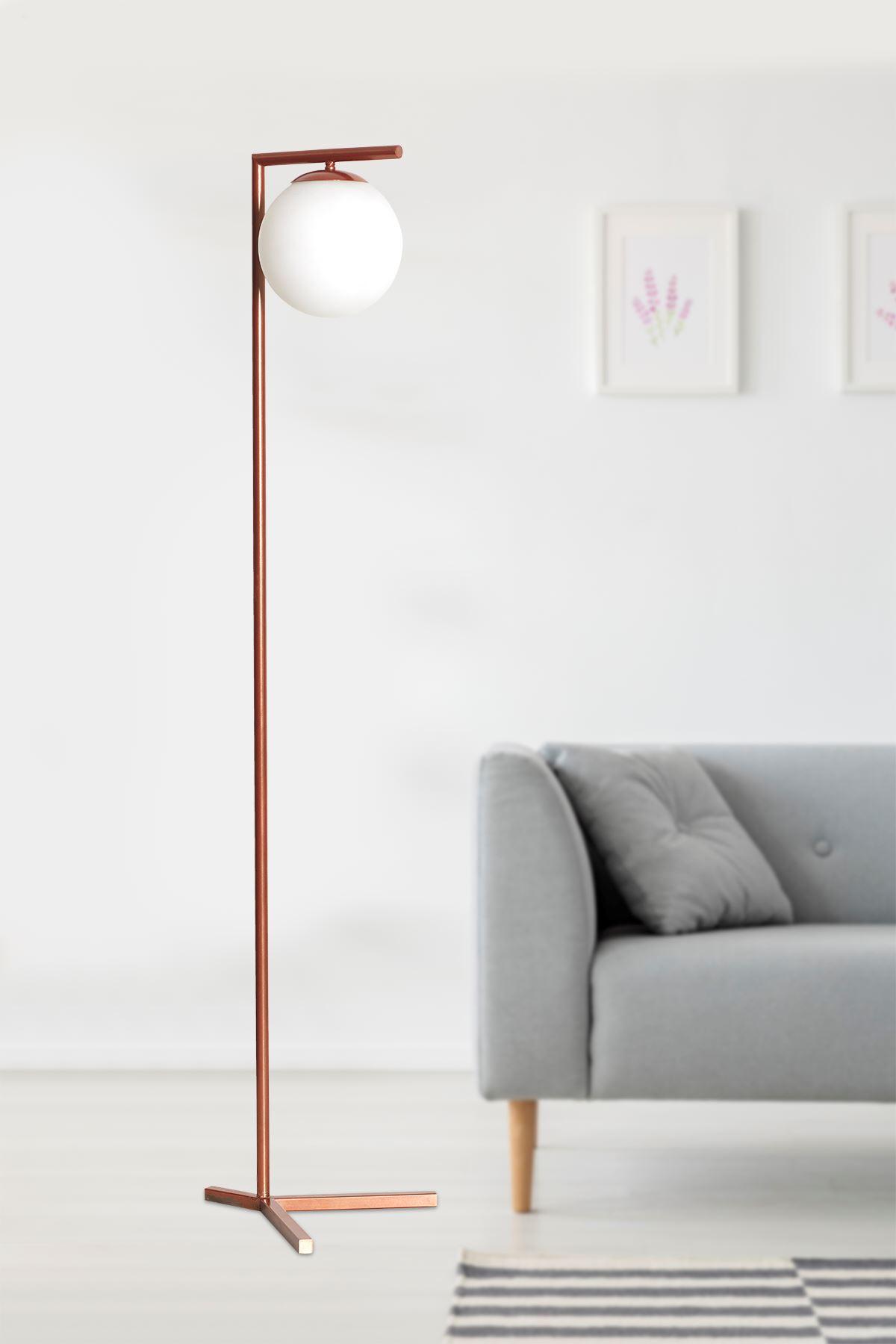 Linda Bakır Metal Gövde Beyaz Camlı Tasarım Lüx Yerden Aydınlatma Lambader