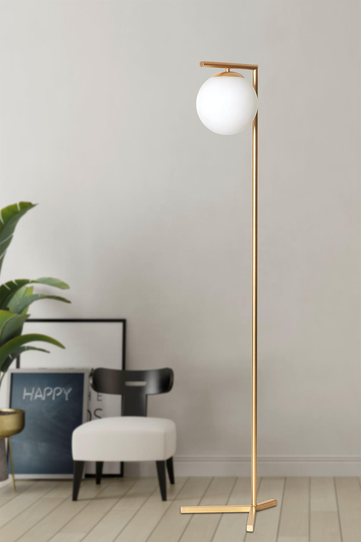 Linda Sarı Metal Gövde Beyaz Camlı Tasarım Lüx Yerden Aydınlatma Lambader