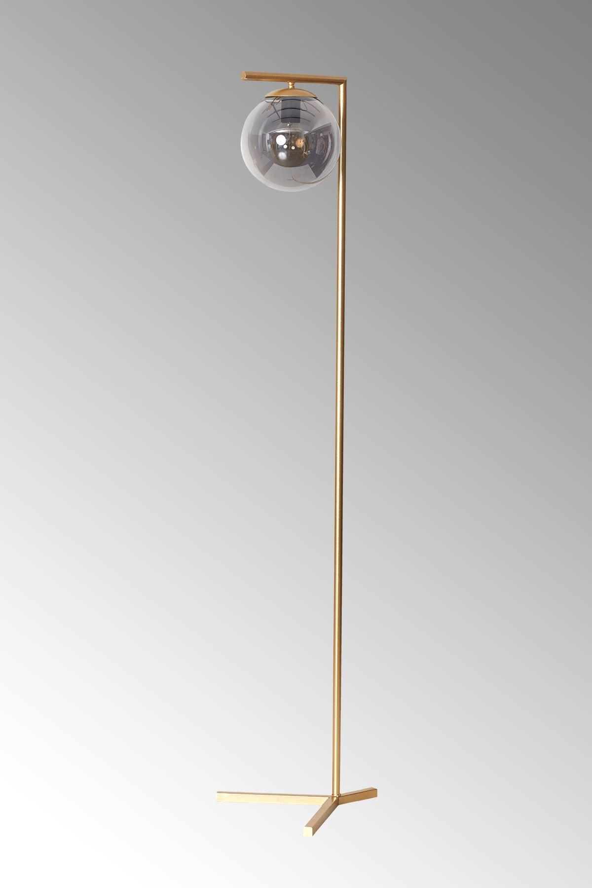 Linda Sarı Metal Gövde Füme Camlı Tasarım Lüx Yerden Aydınlatma Lambader