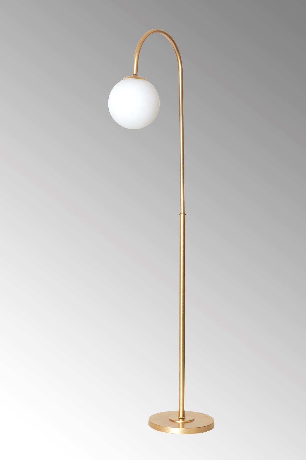 Amor Sarı Metal Gövde Beyaz Camlı Tasarım Lüx Yerden Aydınlatma Lambader