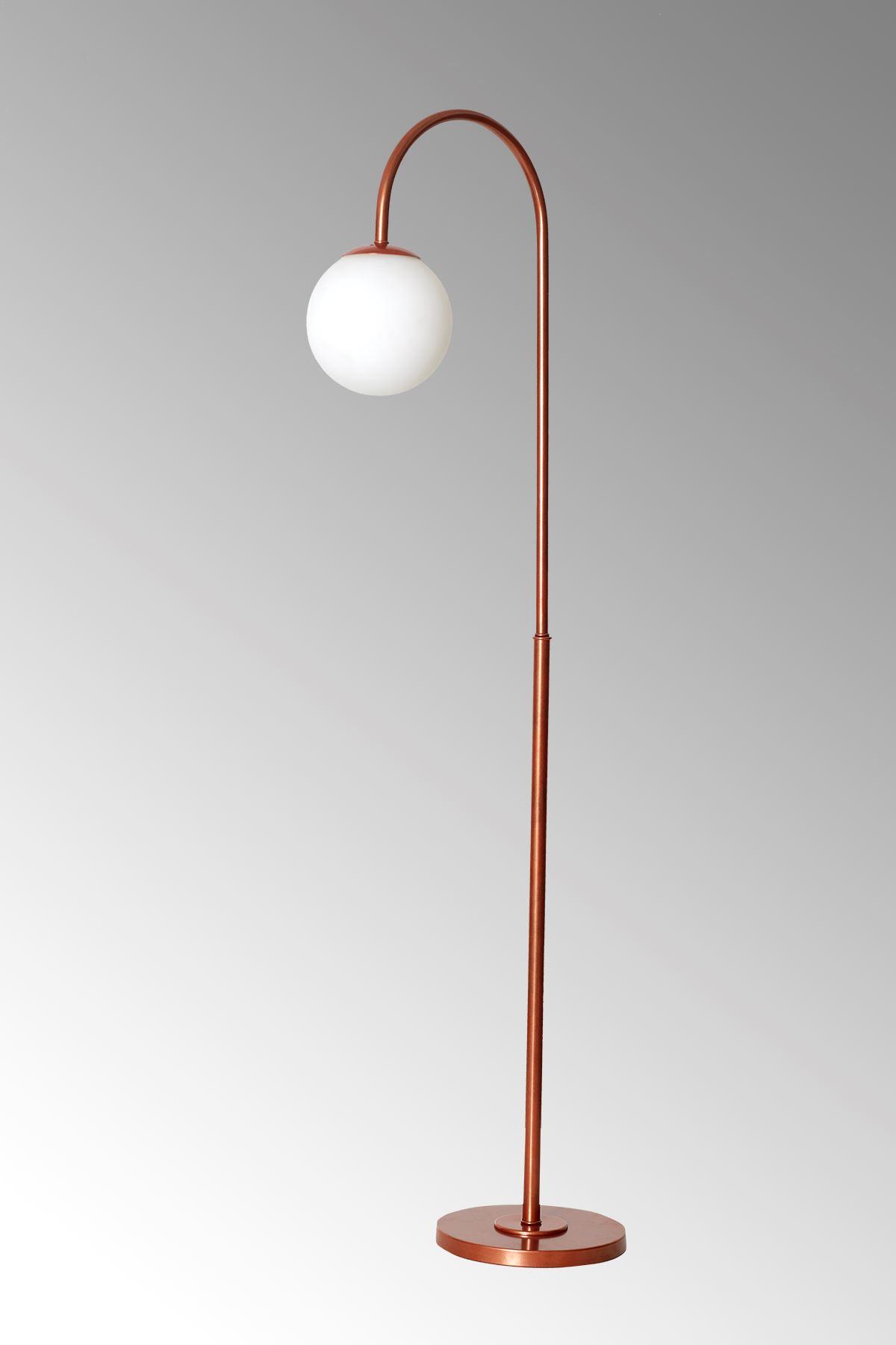 Amor Bakır Metal Gövde Beyaz Camlı Tasarım Lüx Yerden Aydınlatma Lambader