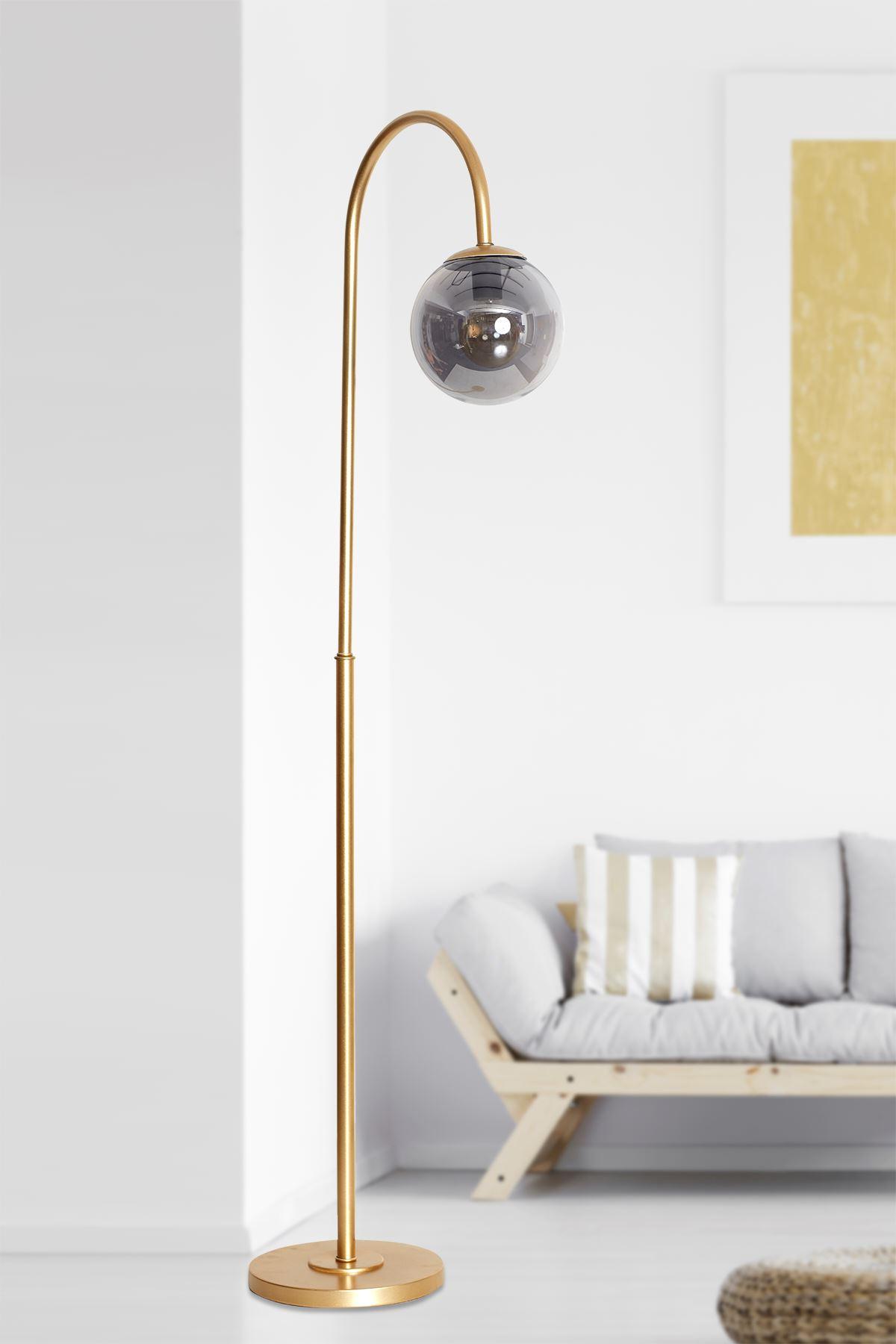 Amor Sarı Metal Gövde Füme Camlı Tasarım Lüx Yerden Aydınlatma Lambader