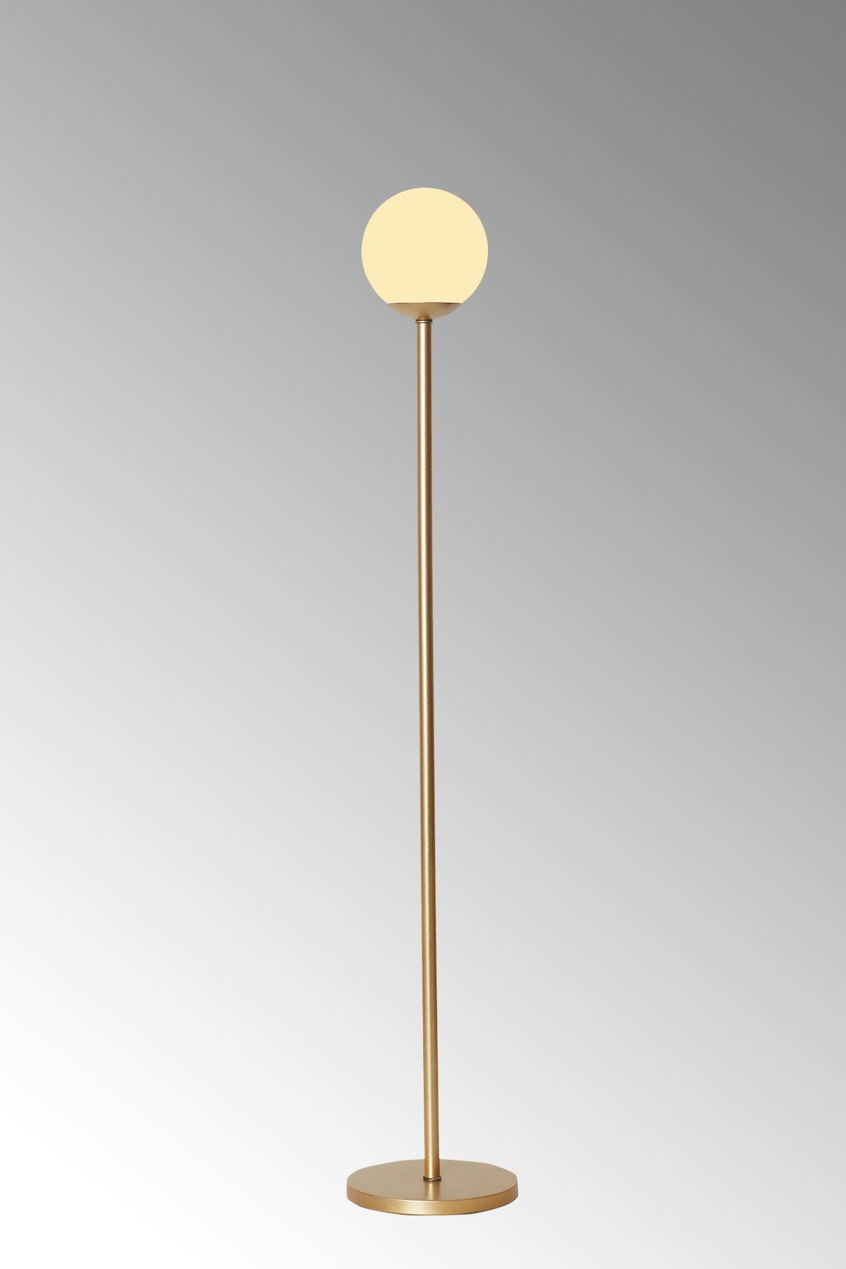 Glob Sarı Metal Gövde Beyaz Camlı  Tasarım Lüx Yerden Aydınlatma Lambader