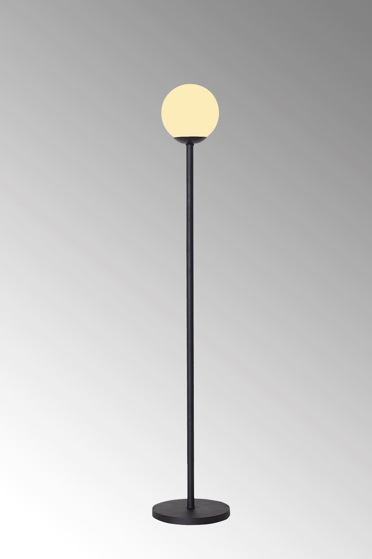 Glob Siyah Metal Gövde Beyaz Camlı  Tasarım Lüx Yerden Aydınlatma Lambader