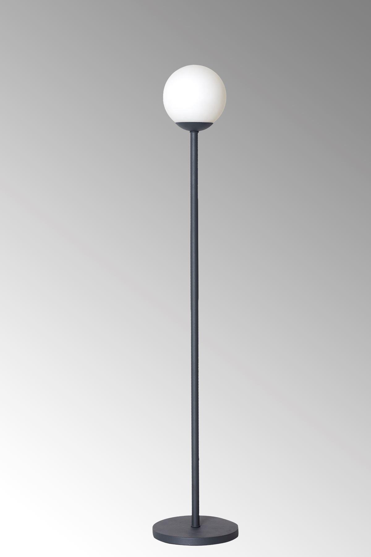 Glob Antrasit Metal Gövde Beyaz Camlı  Tasarım Lüx Yerden Aydınlatma Lambader