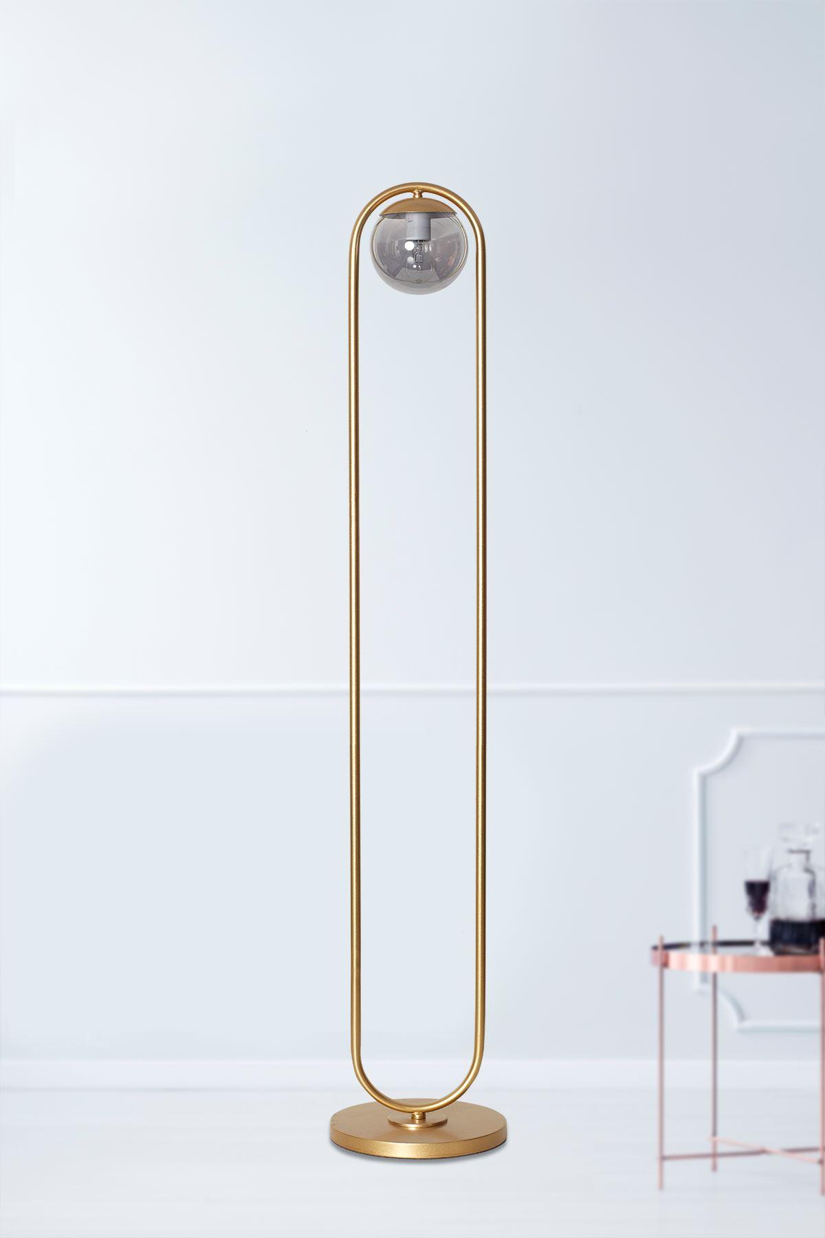 Zenga Sarı Metal Gövde Füme Camlı Tasarım Lüx Yerden Aydınlatma Lambader