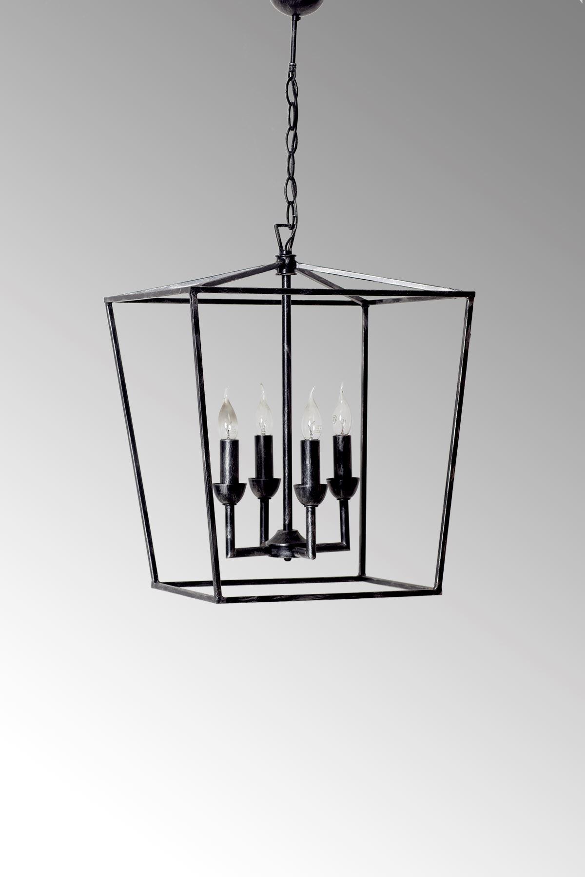 Cage Siyah Metal Gövde Rustik Tasarım Lüx   Avize