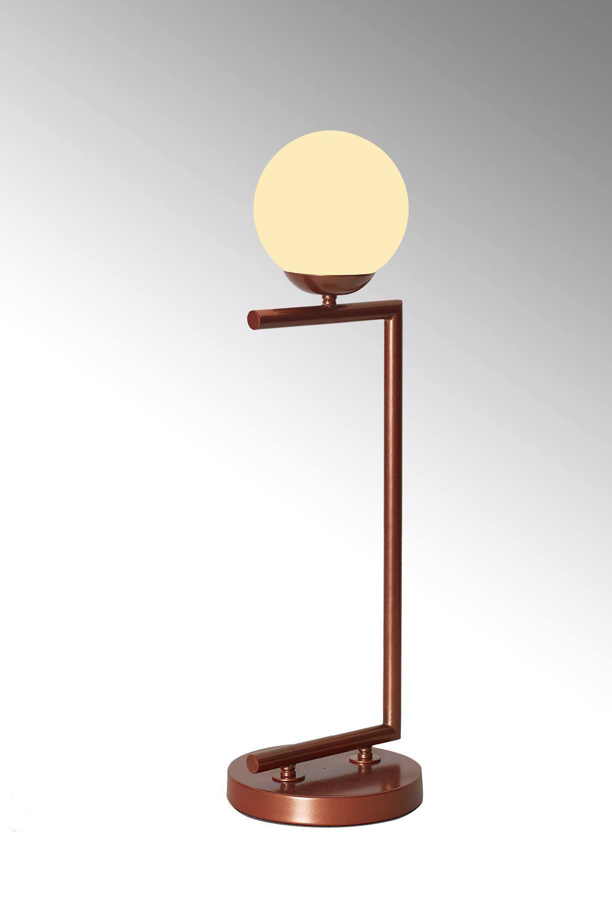 Casa Bakır Gövde Beyaz Camlı Tasarım Lüx Masa Lambası