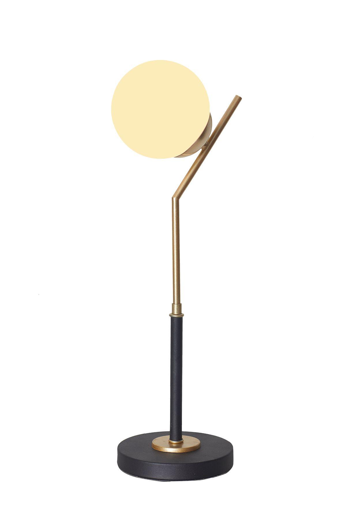 Elit Sarı Siyah Metal Gövde Beyaz Camlı Tasarım Lüx Masa Lambası
