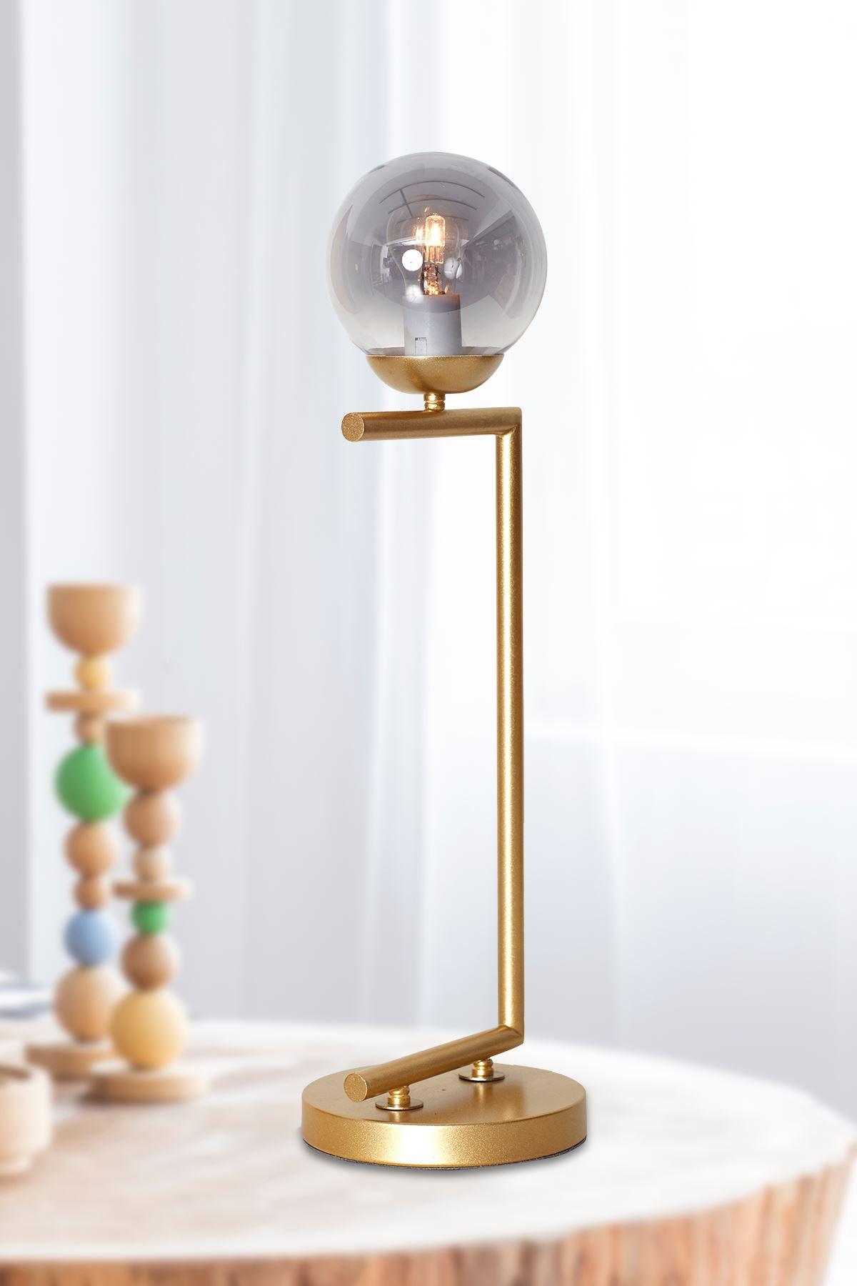Casa Sarı Gövde Füme Camlı Tasarım Lüx Masa Lambası
