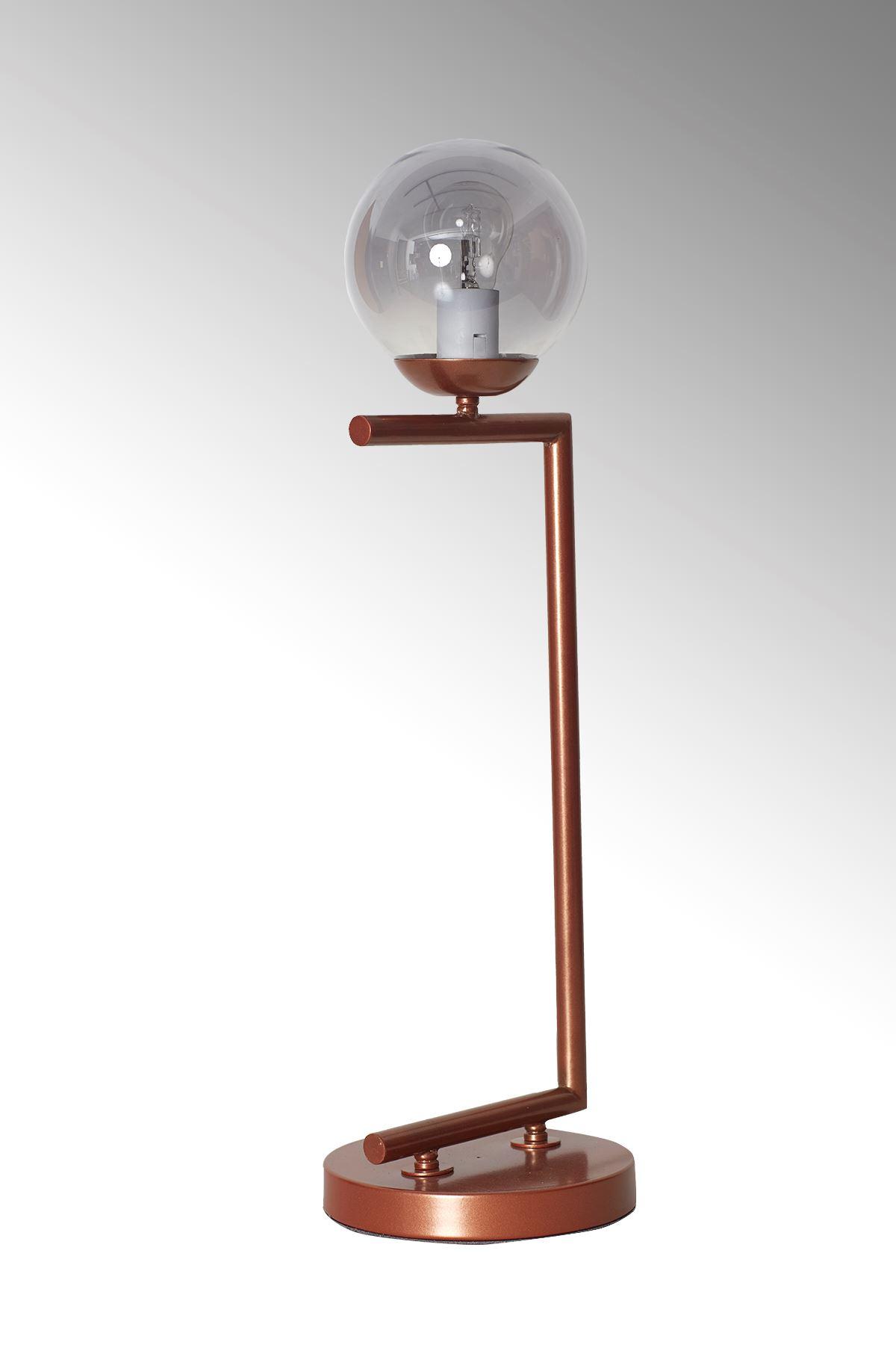 Casa Bakır Gövde Füme Camlı Tasarım Lüx Masa Lambası