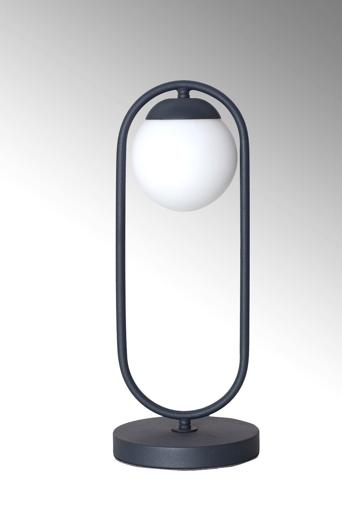 Zenga Antrasit Metal Gövde Beyaz Camlı Tasarım Lüx Masa Lambası