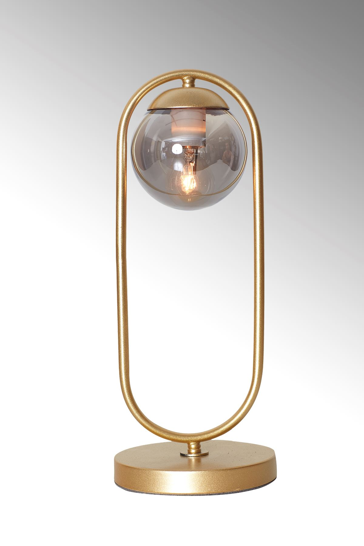 Zenga Sarı Metal Gövde Füme Camlı Tasarım Lüx Masa Lambası