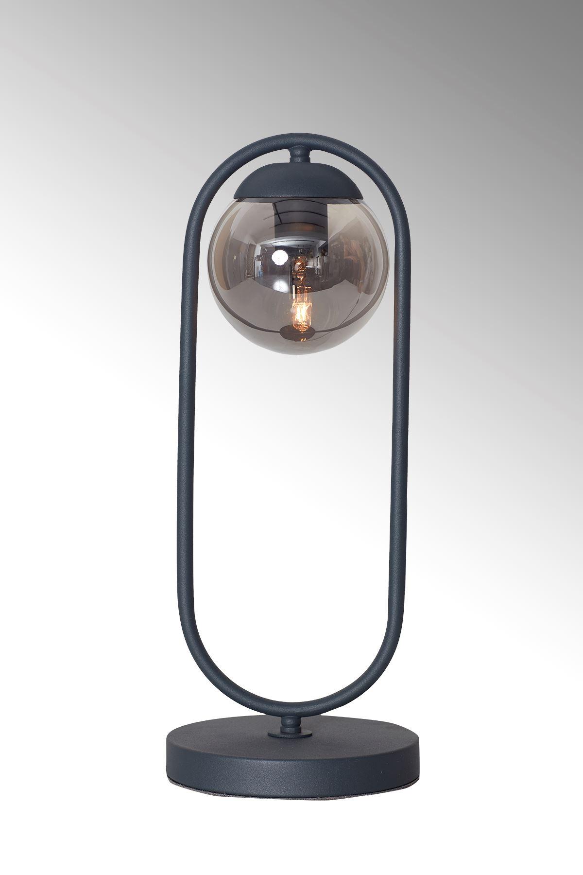 Zenga Antrasit Metal Gövde Füme Camlı Tasarım Lüx Masa Lambası