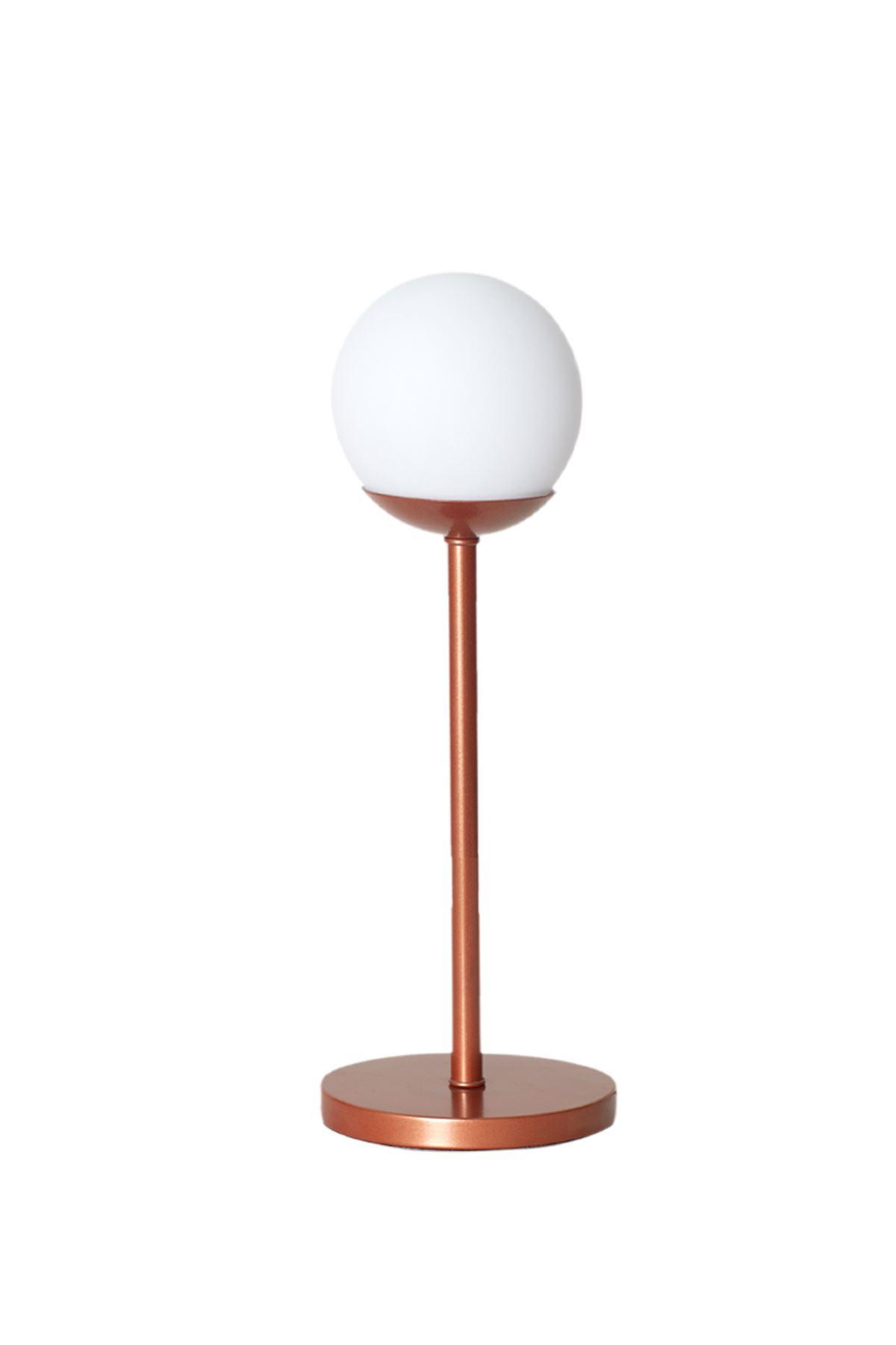 Glob Bakır Metal Gövde Beyaz Camlı Tasarım Lüx Masa Lambası