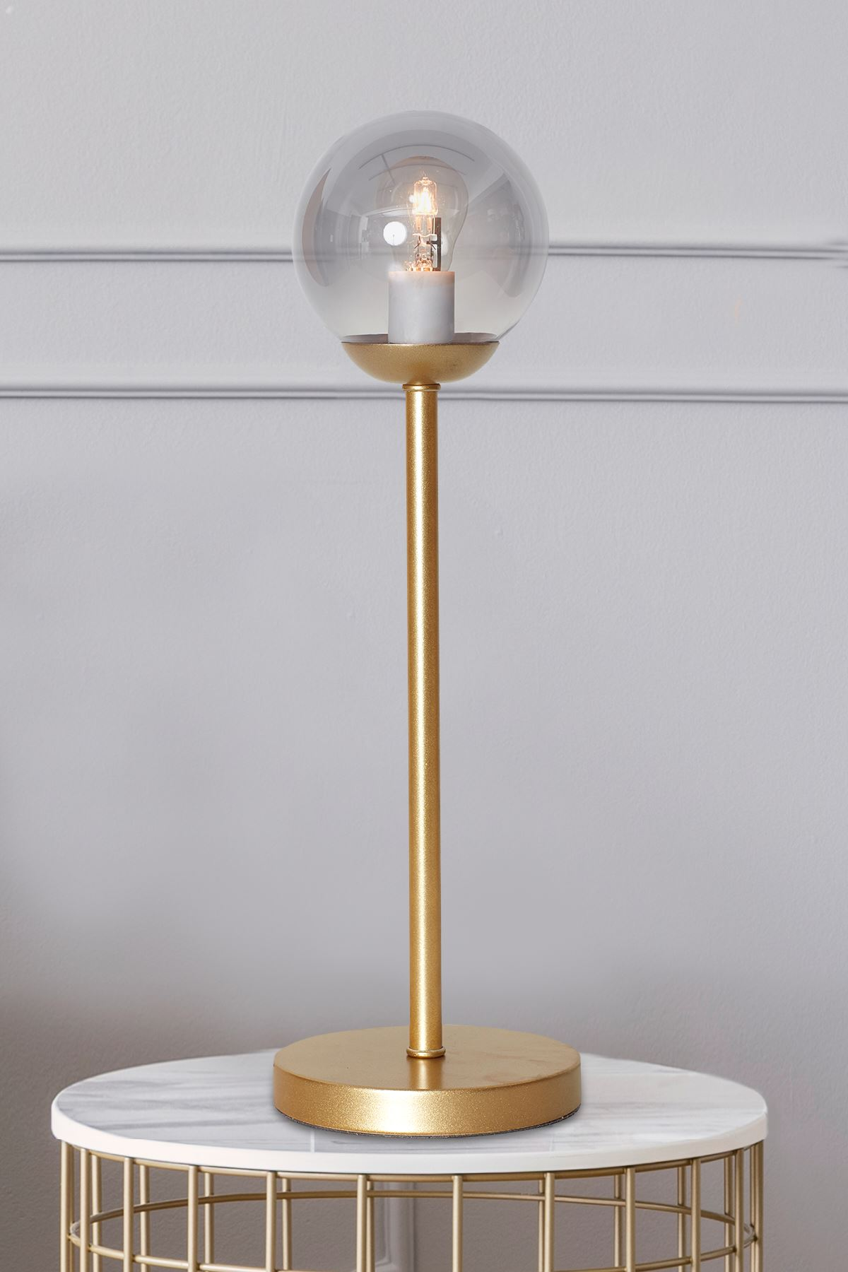 Glob Sarı Metal Gövde Füme Camlı Tasarım Lüx Masa Lambası