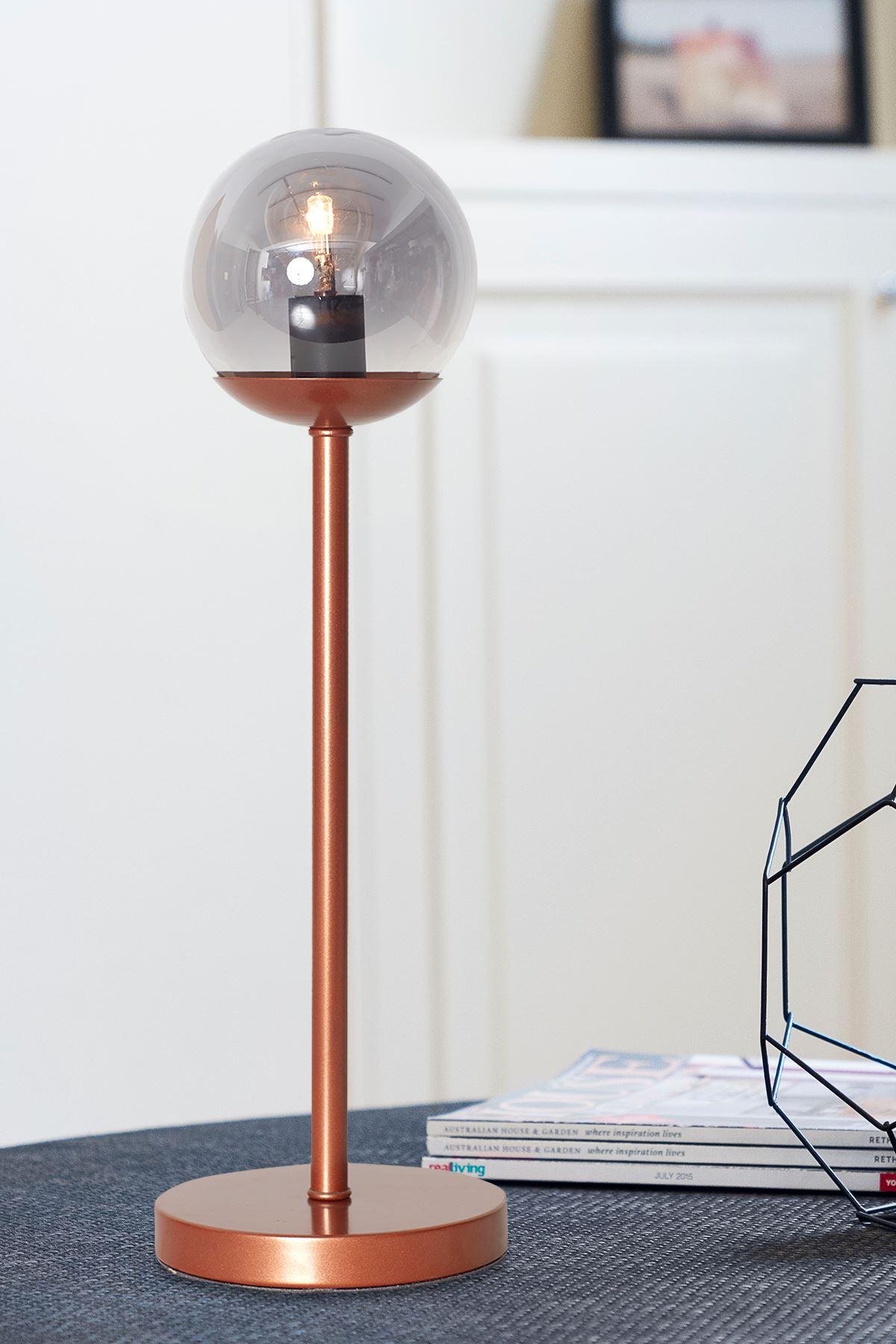Glob Bakır Metal Gövde Füme Camlı Tasarım Lüx Masa Lambası
