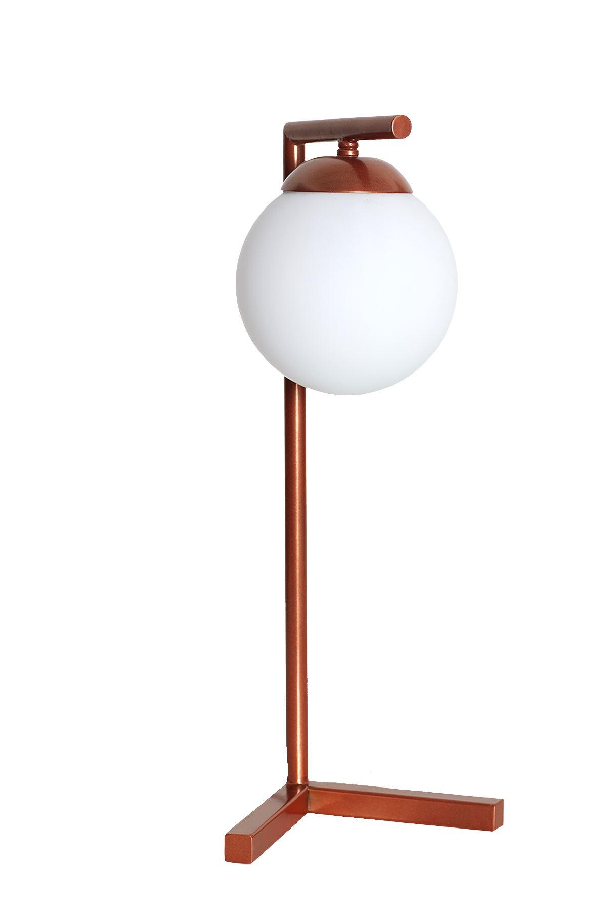 Linda Bakır Metal Gövde Beyaz Camlı Tasarım Lüx Masa Lambası