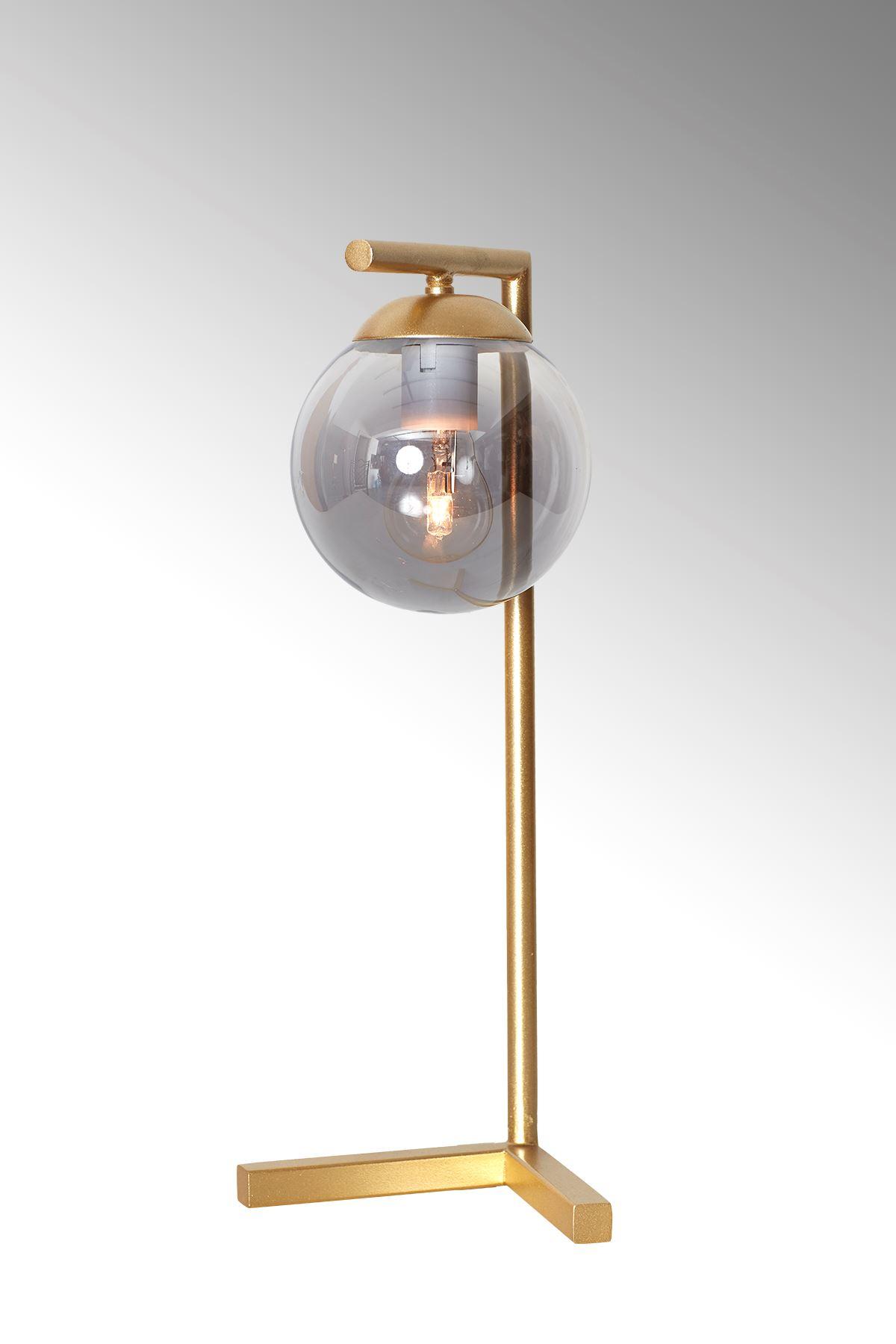 Linda Sarı Metal Gövde Füme Camlı Tasarım Lüx Masa Lambası