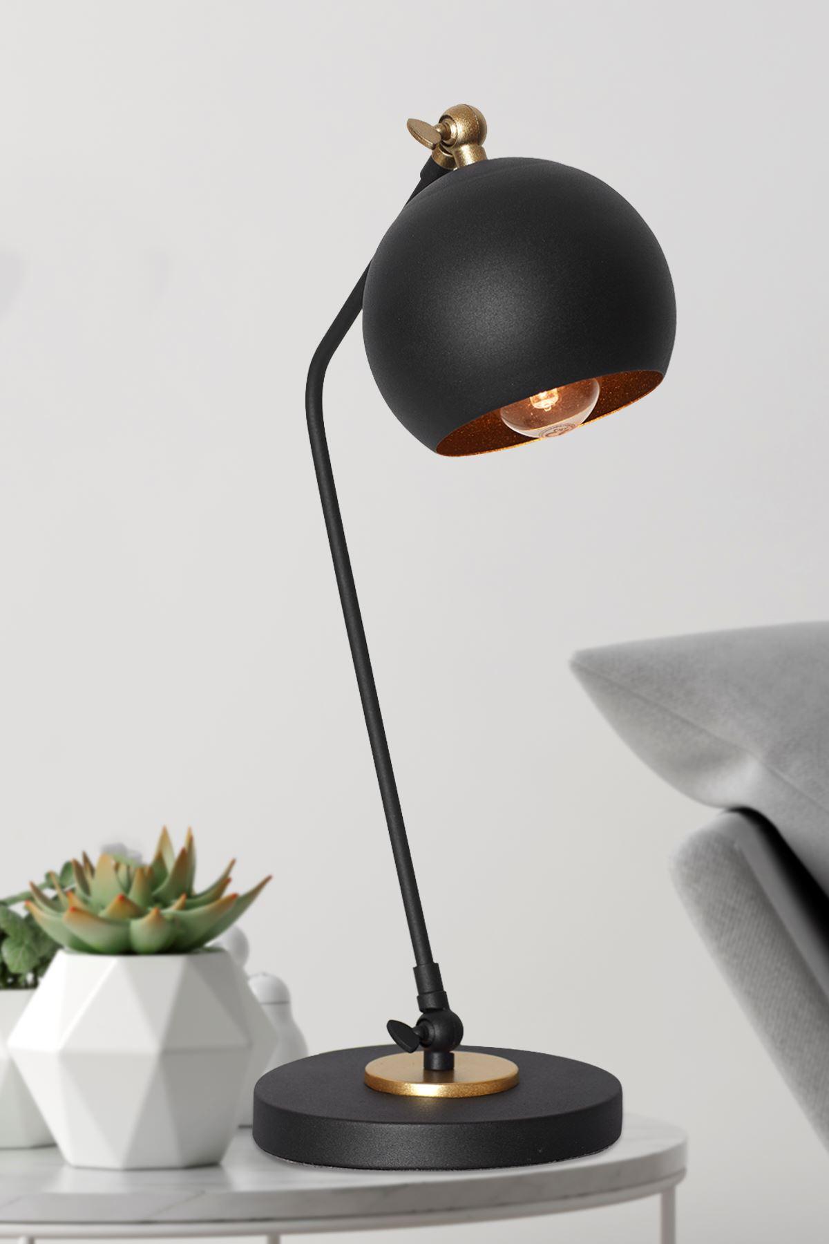 Ascoli Siyah Sarı Metal Tasarım Lüx Masa Lambası