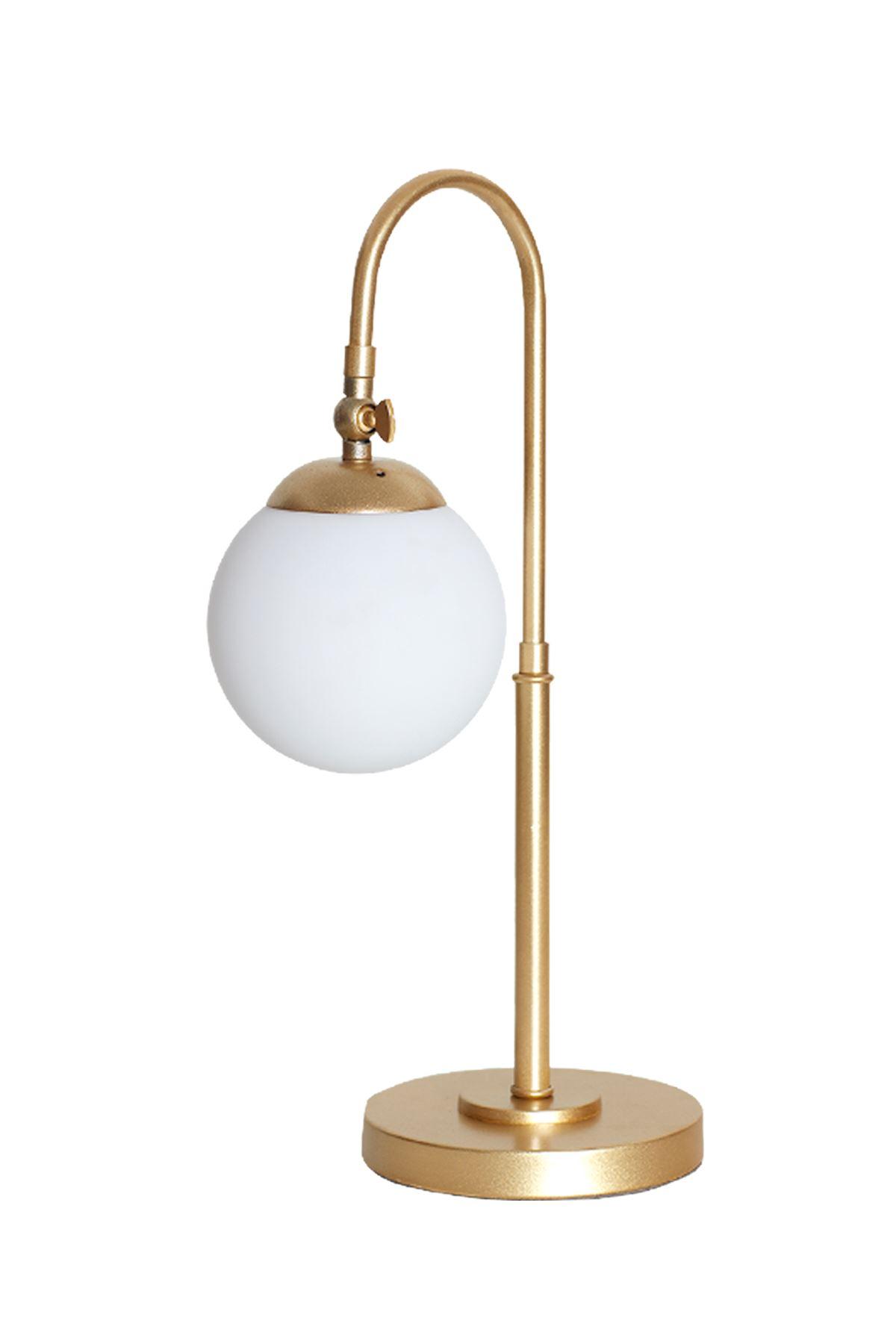 Amor Sarı Metal Gövde Beyaz Camlı Tasarım Lüx Masa Lambası