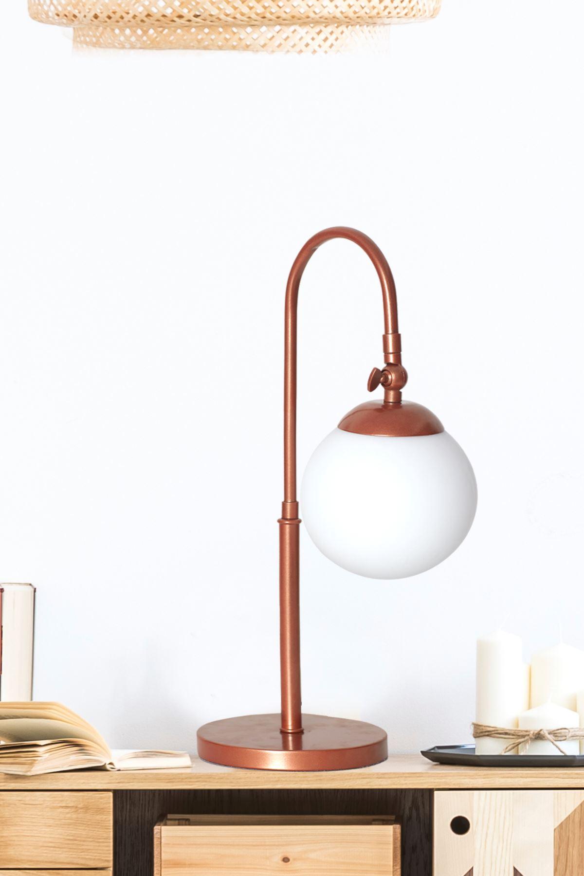 Amor Bakır Metal Gövde Beyaz Camlı Tasarım Lüx Masa Lambası