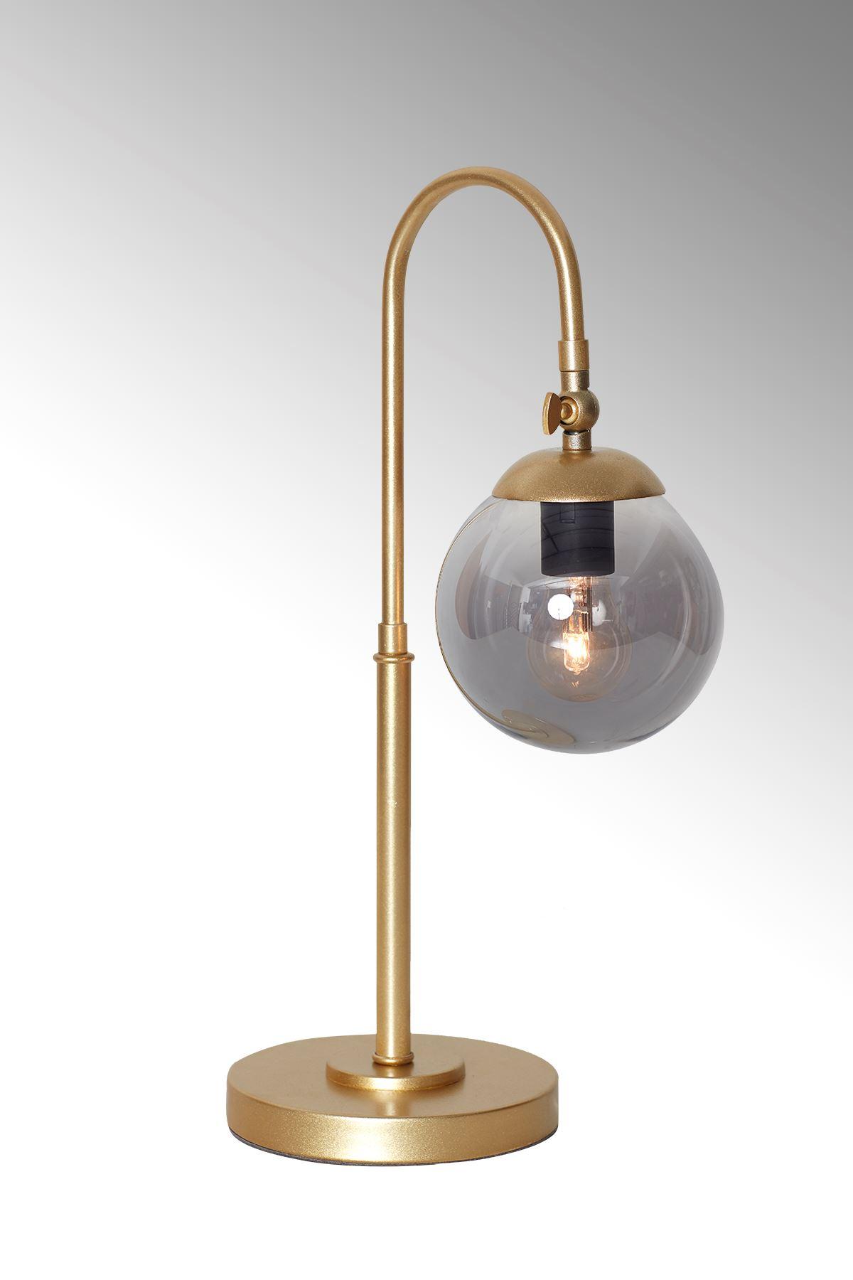 Amor Sarı Metal Gövde Füme Camlı Tasarım Lüx Masa Lambası