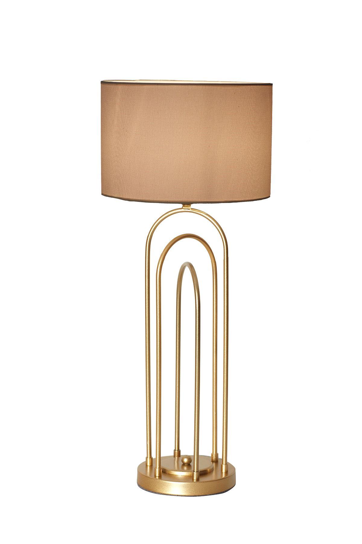 Mia Sarı  Metal Abajur Tasarım Lüx Masa Lambası