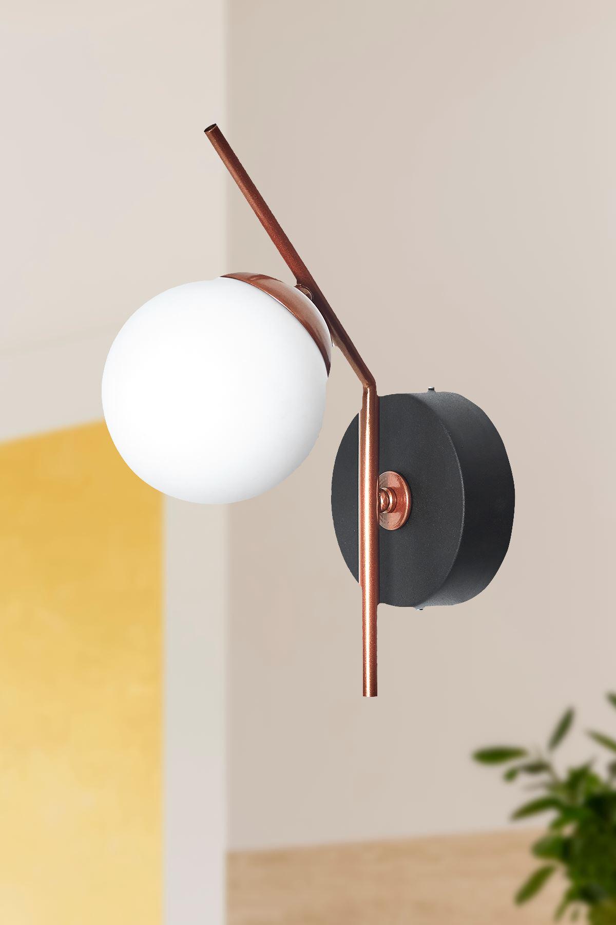 Elit Bakır  Siyah Metal Gövde Beyaz Camlı Tasarım Lüx Dikey Aplik