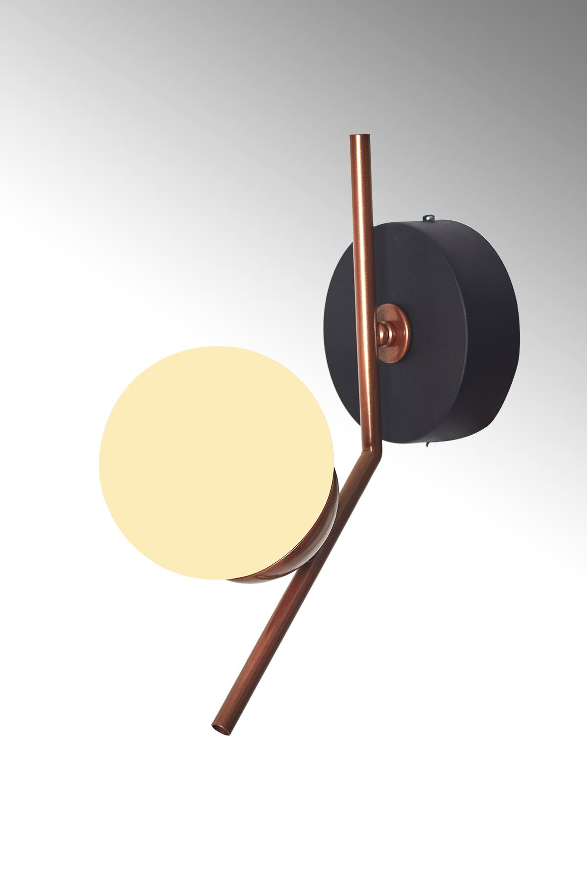 Elit Bakır Siyah Metal Gövde Beyaz Camlı Tasarım Lüx Yatay Aplik