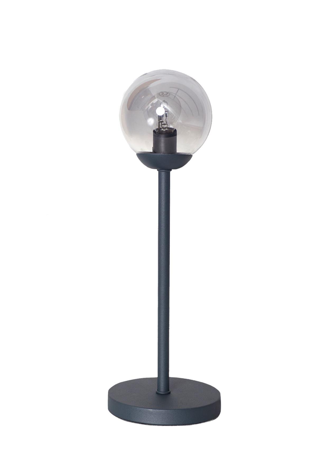 Glob Antrasit Metal Gövde Füme Camlı Tasarım Masa Lüx Lambası
