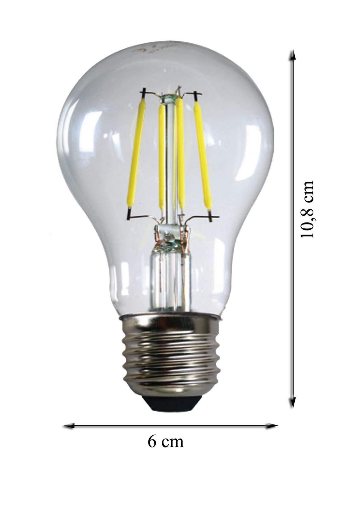 HEKA  E27  6 Watt Beyaz Işık Standart Tip Filament Edison Tip Rustik LED Ampül
