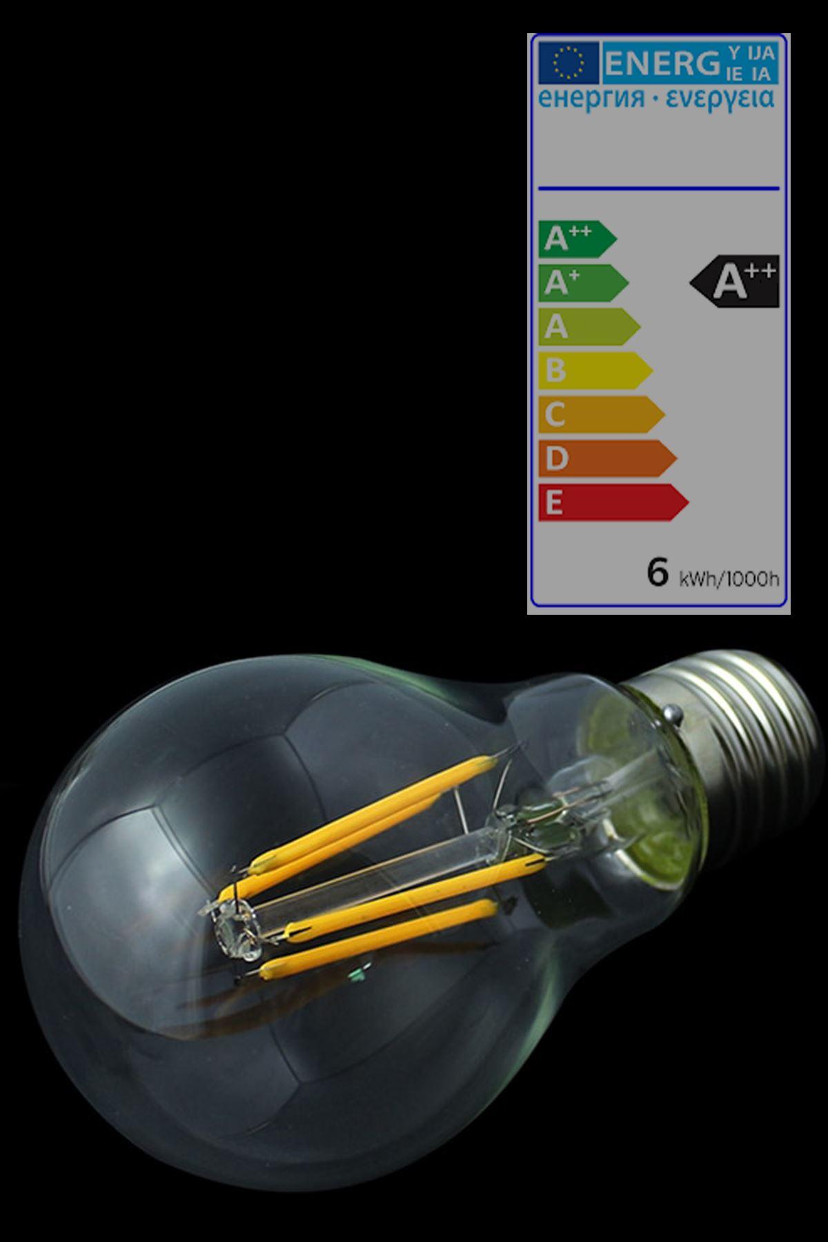 HEKA  E27  6 Watt  Gün Işığı Standart Tip Filament Edison Tip Rustik LED Ampül