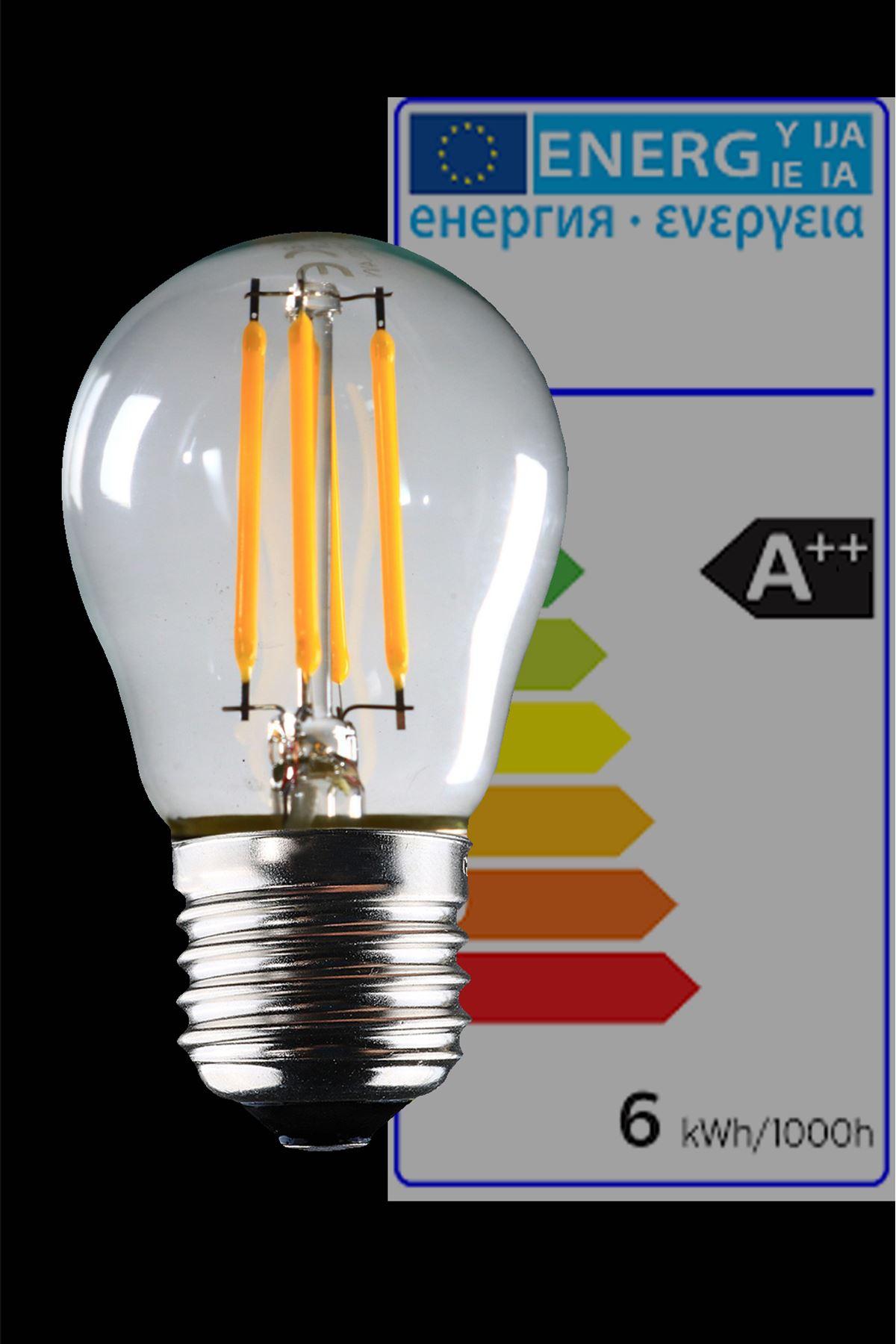 Luzarana  E27 G45  6 Watt Gün Işığı Standart Tip Filament Edison Tip Rustik LED Top Ampül (Heka)