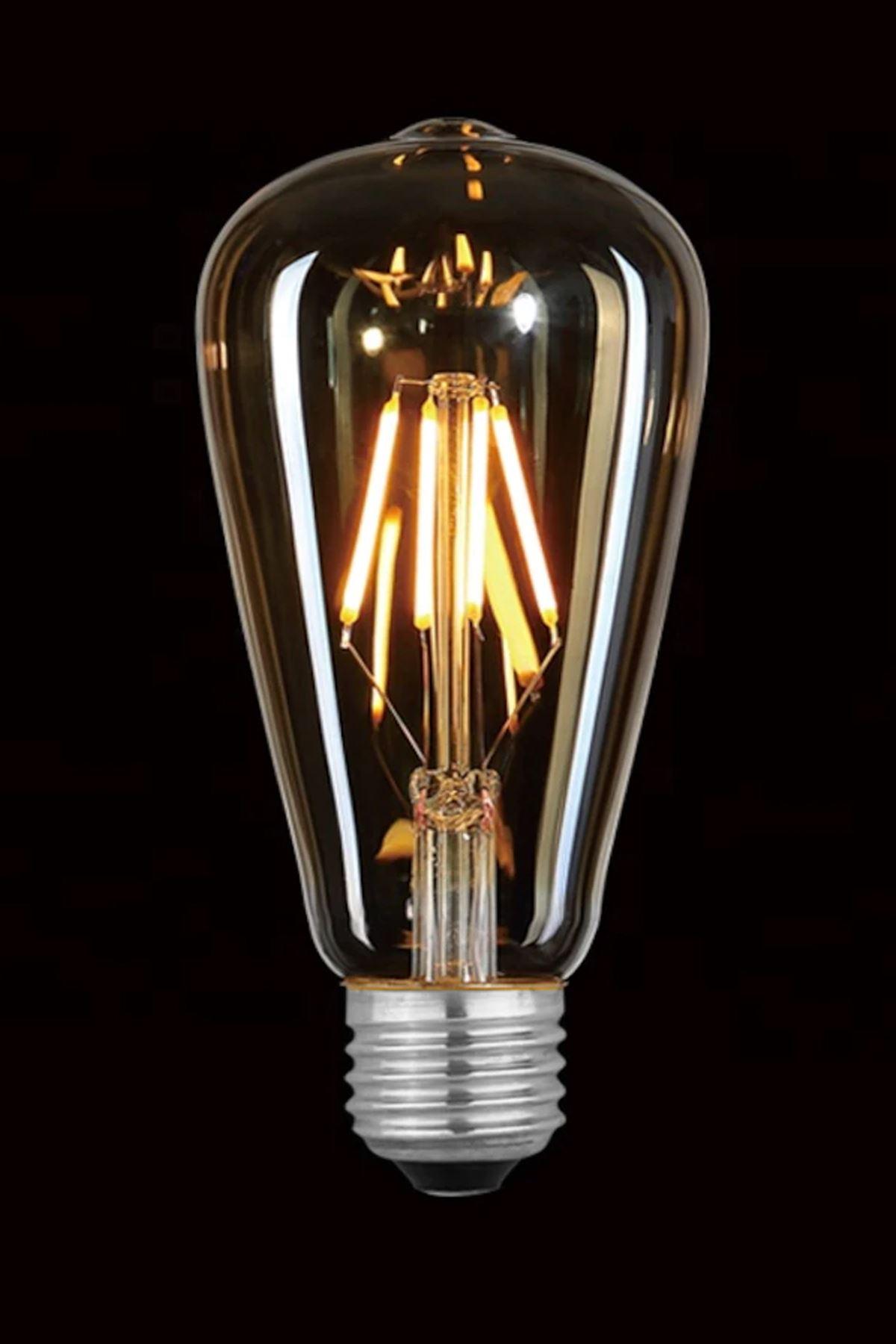 HEKA  E27  4 Watt Gün Işığı Dimerli Tip Filament Edison Tip Retro Armut LED Ampül