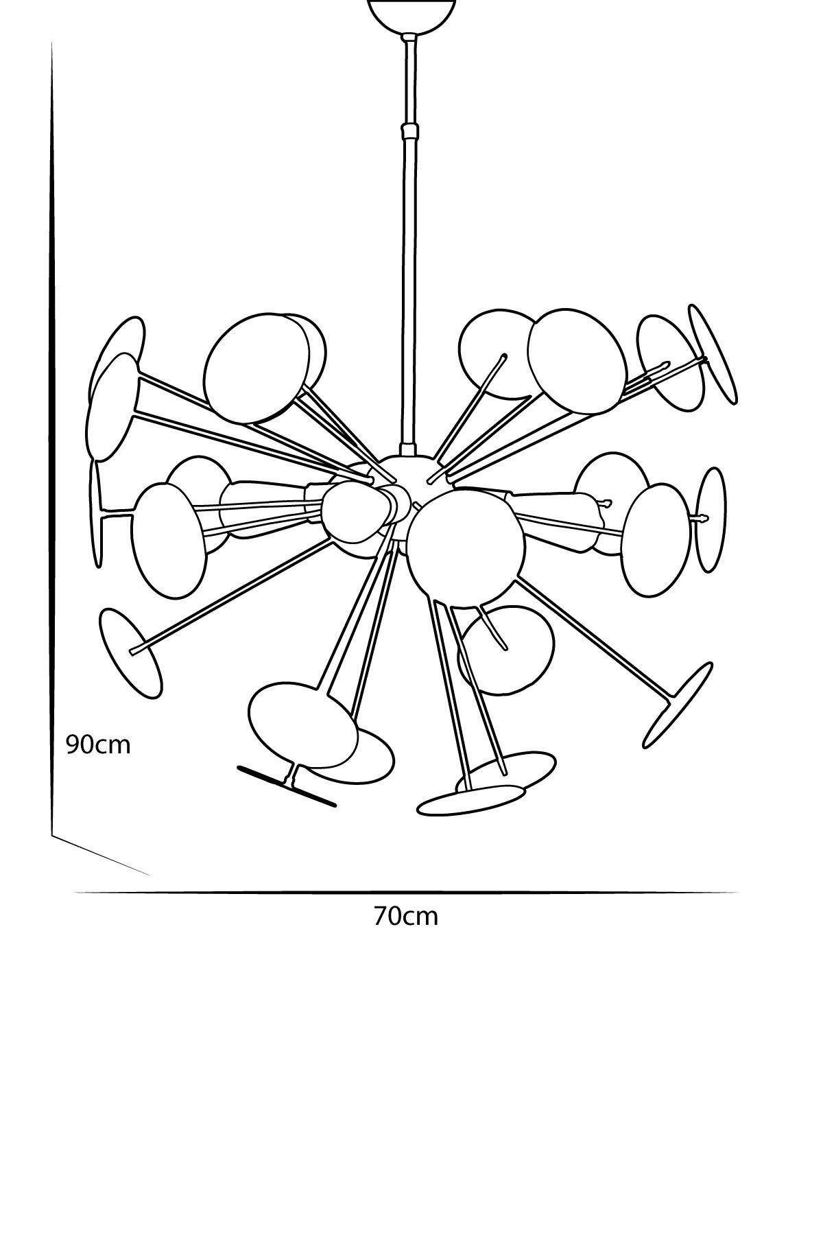 Rosso Bakır Metal Gövde  Tasarım Lüx   Avize