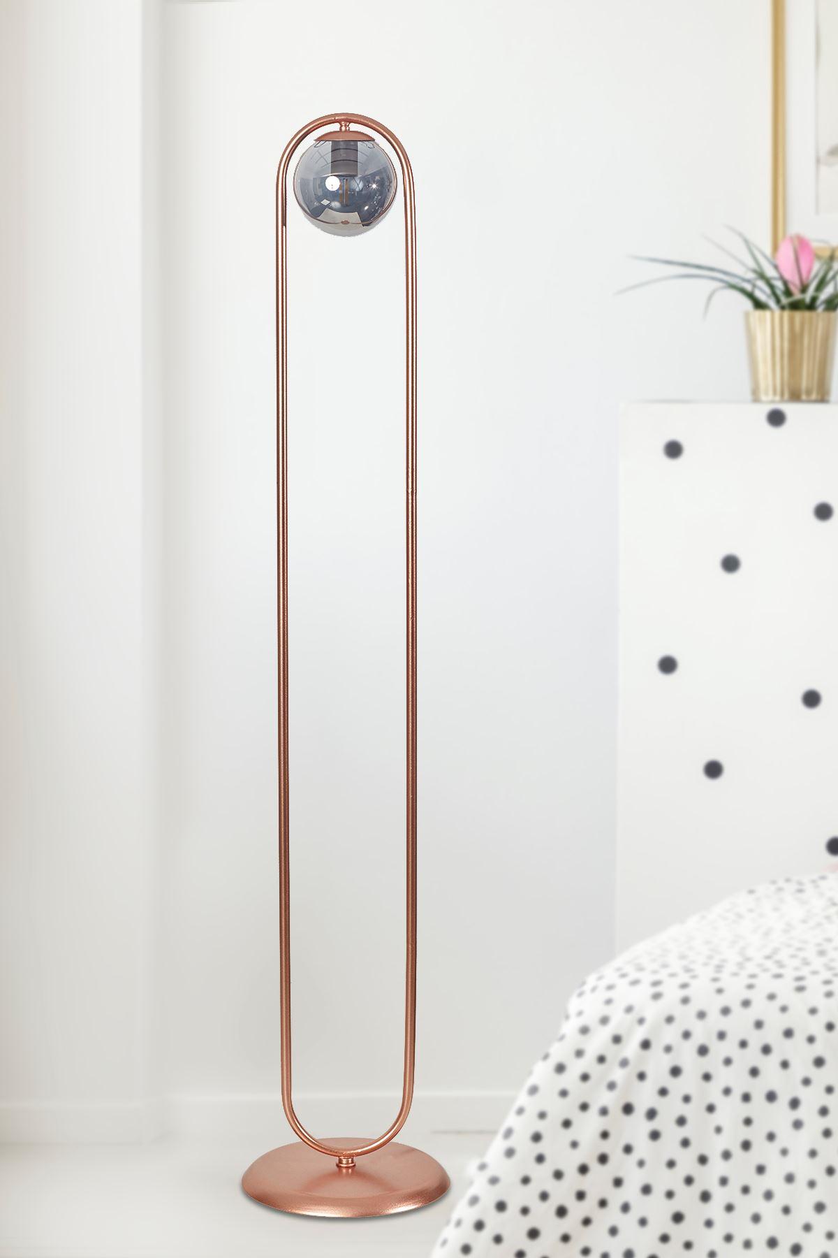 Zenga Bakır Metal Gövde Füme Camlı Tasarım Lüx Yerden Aydınlatma Lambader