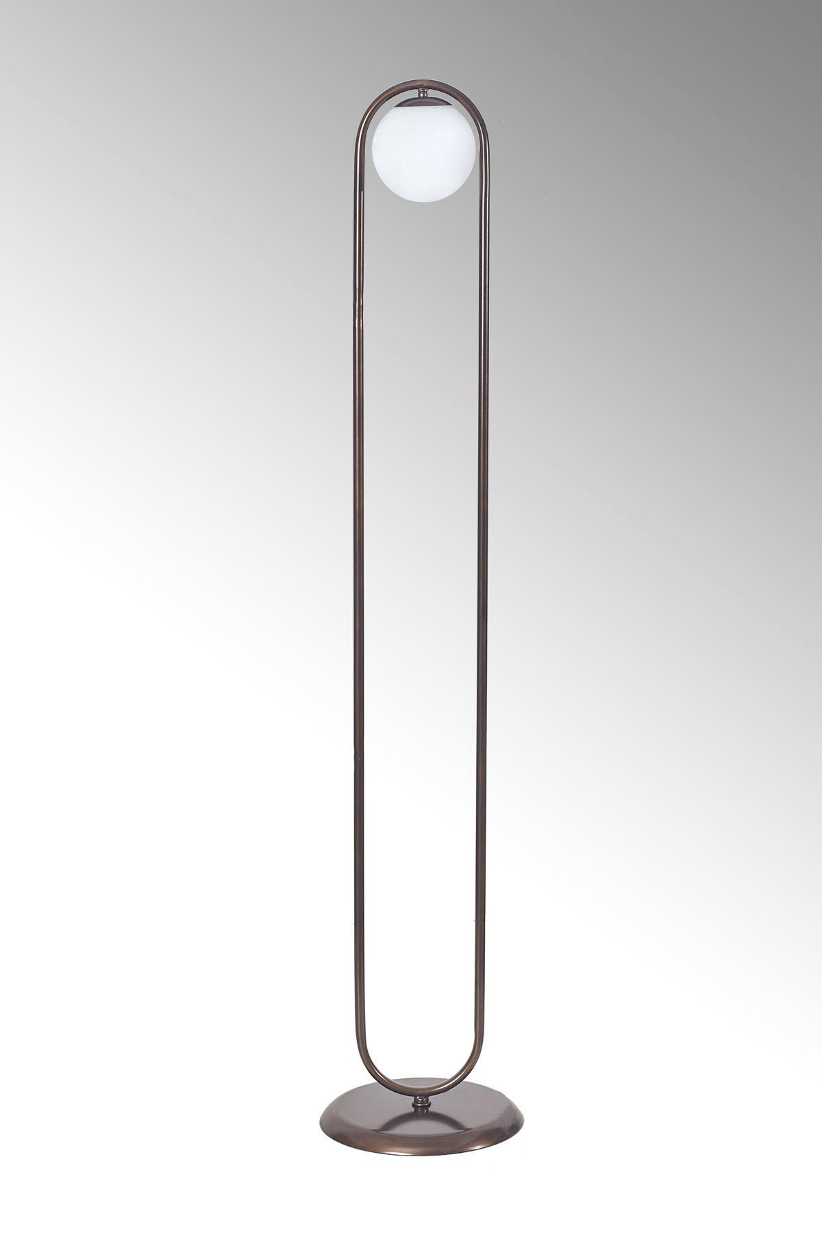 Zenga Eskitme Metal Gövde Beyaz Camlı Tasarım Lüx Yerden Aydınlatma Lambader