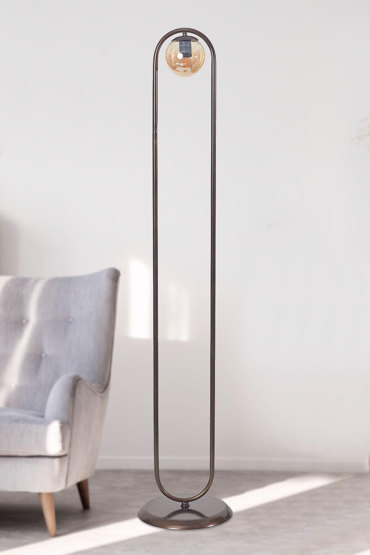 Zenga Eskitme Metal Gövde Bal Rengi Camlı Tasarım Lüx Yerden Aydınlatma Lambader