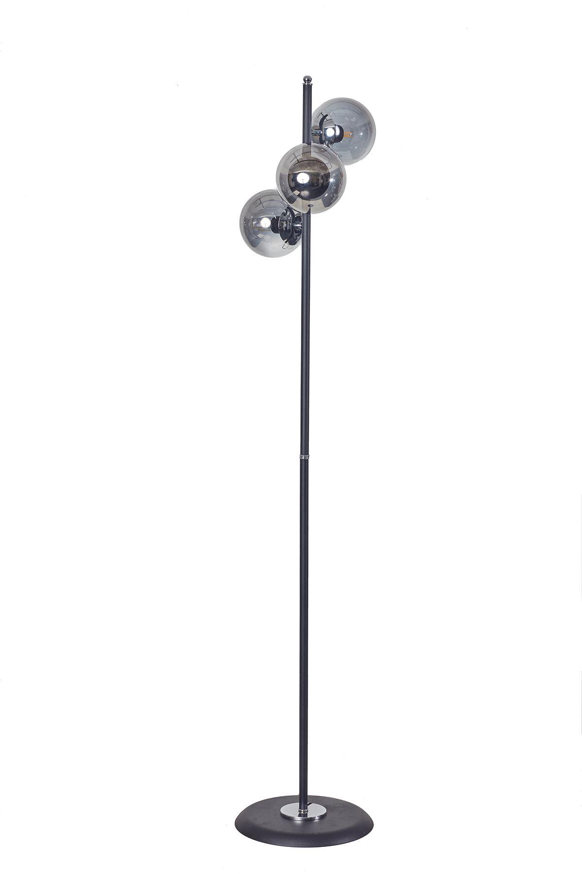 Perla Siyah Metal Gövde Füme Camlı Tasarım Lüx Yerden Aydınlatma Lambader