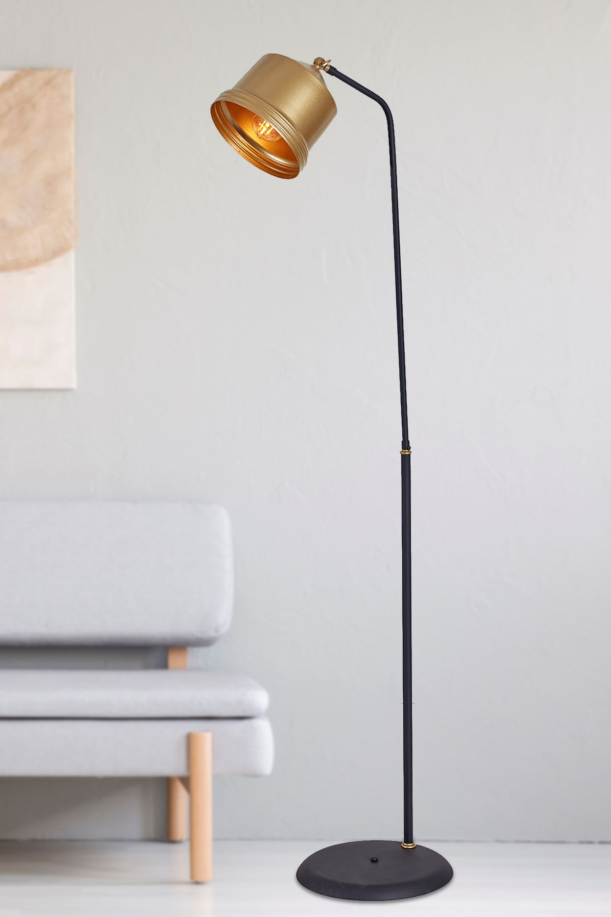 Lucas Sarı-Siyah Metal Gövde Tasarım Lüx Yerden Aydınlatma Lambader