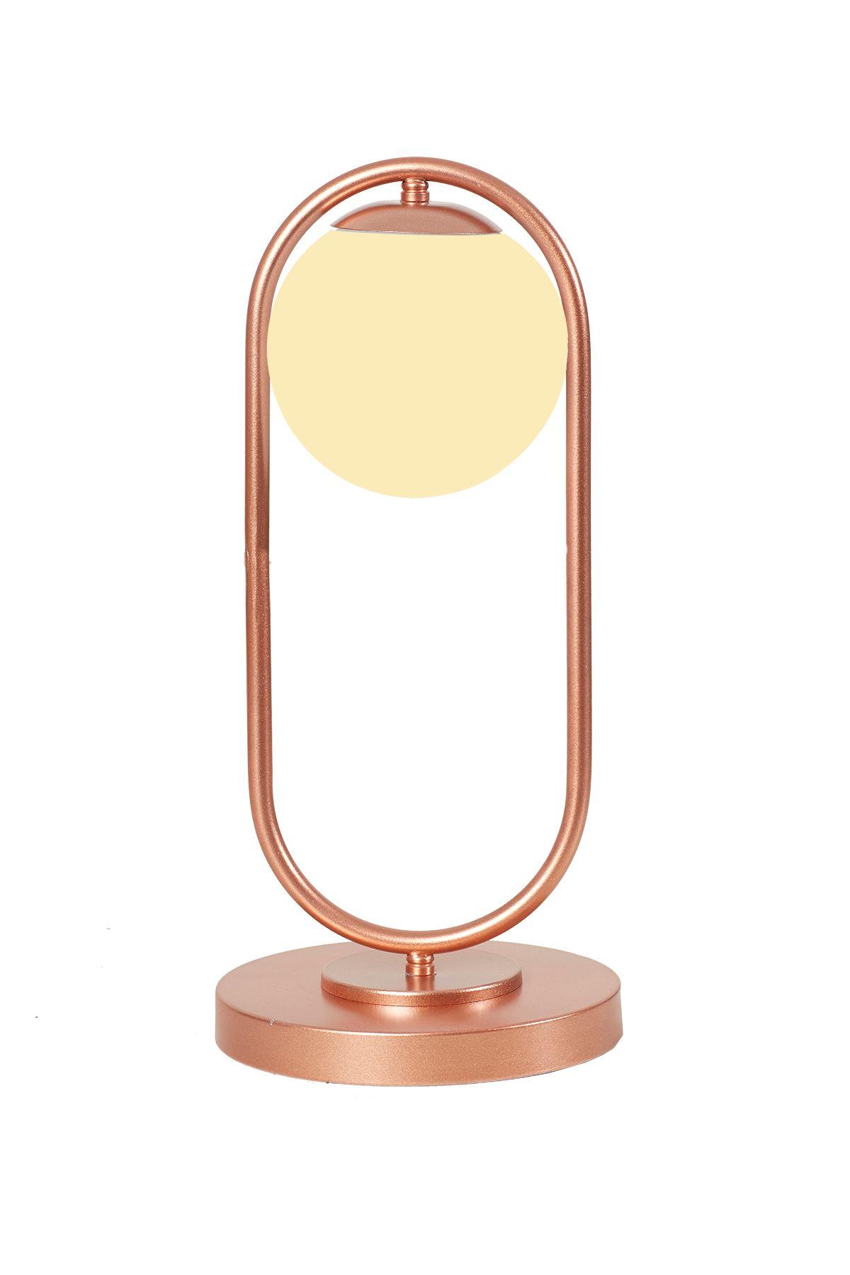 Zenga Bakır Metal Gövde Beyaz Camlı Tasarım Lüx Masa Lambası